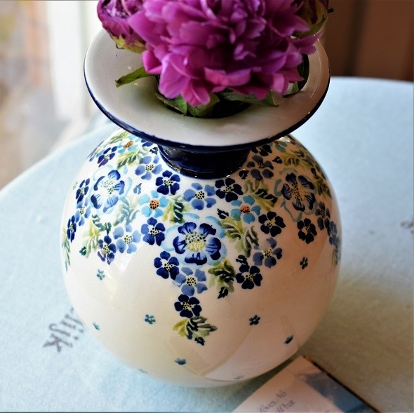 Polish Pottery TRUE BLUES Andrea Stoneware Vase | ARTISAN