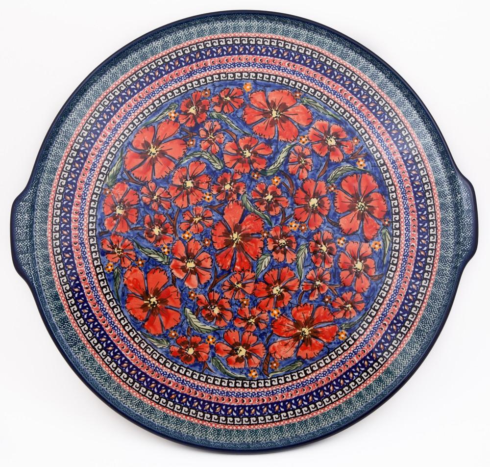 Polish Pottery CHERISHED FRIENDS Large Pizza Platter | UNIKAT