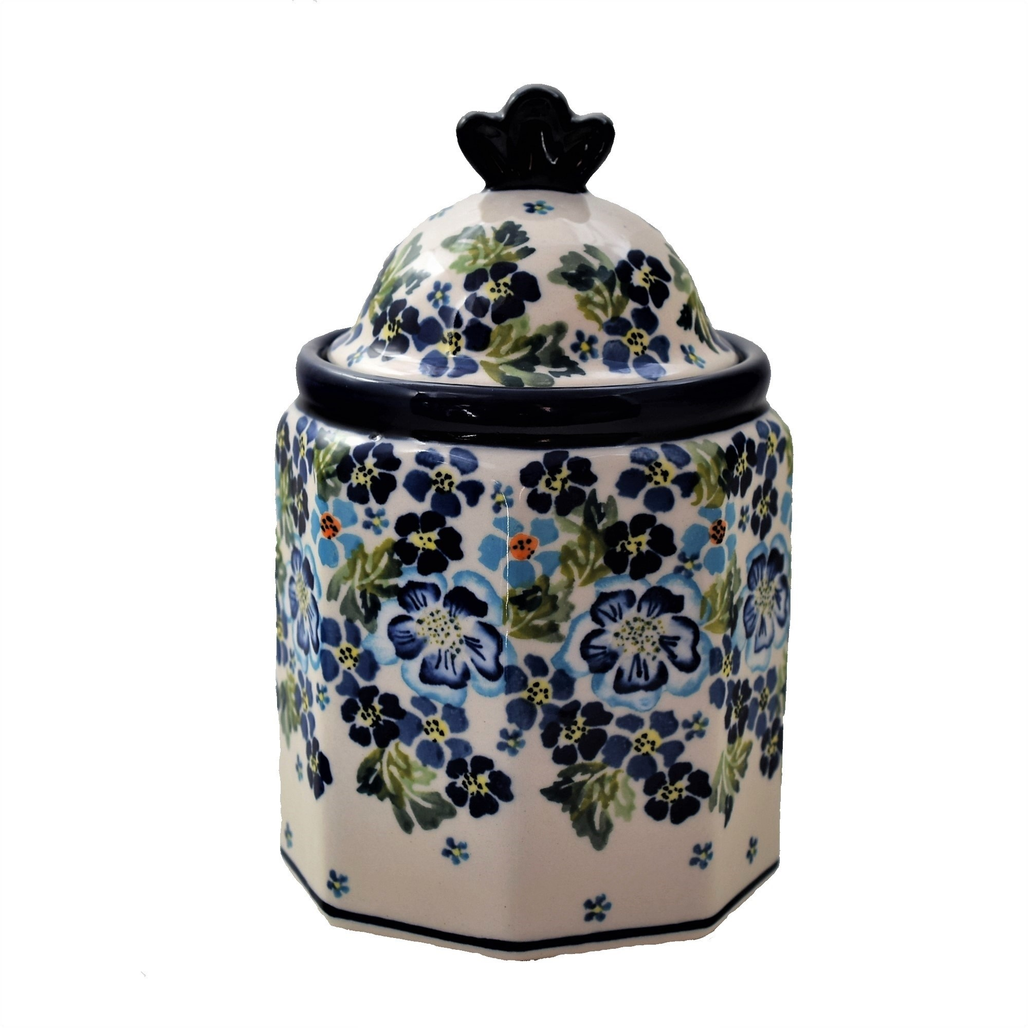 """Polish Pottery TRUE BLUES 7.5"""" Imperial Stoneware Canister 4.5 Cup   ARTISAN"""