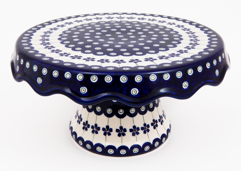 Pottery Avenue Flowering Peacock Pedestal Stoneware Cake Plate
