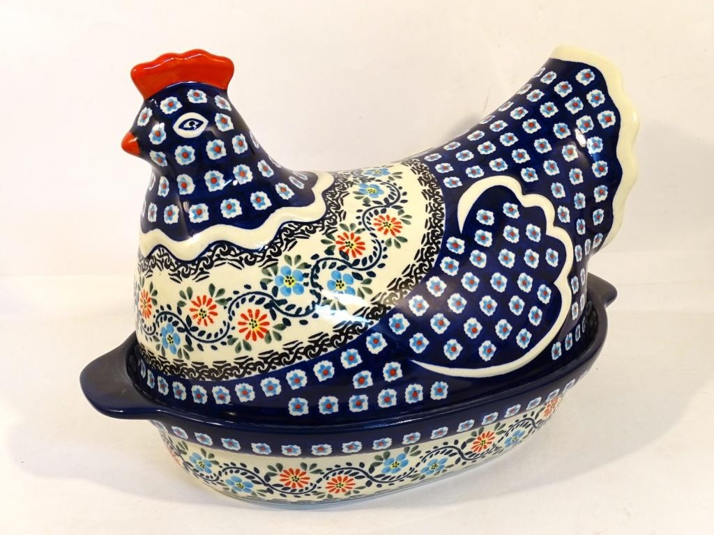 Polish Pottery 1.5L HERITAGE HOME Hen baked casserole   CLASSIC