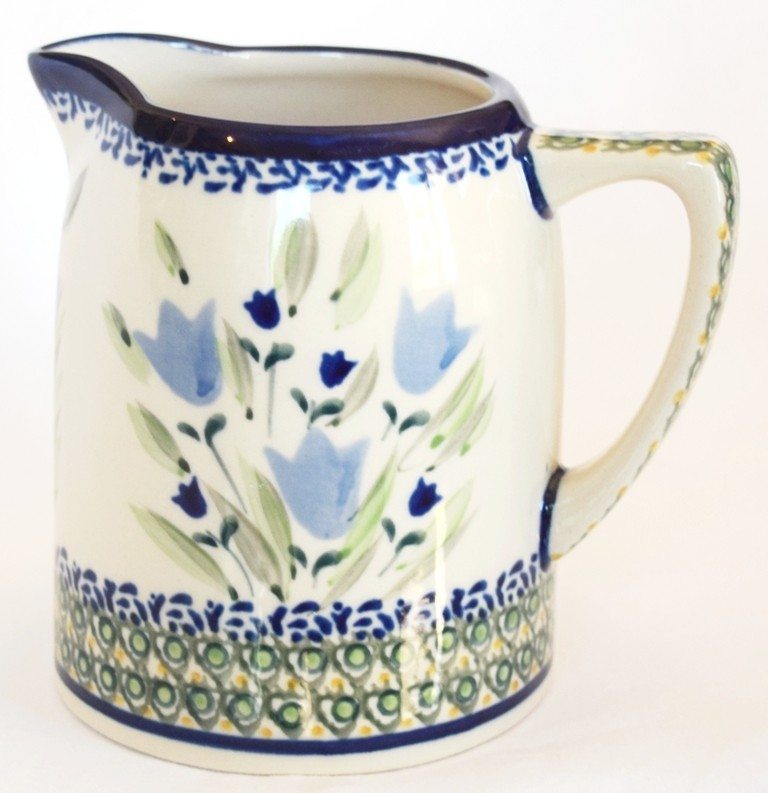 Polish Pottery BLUE TULIP .7L Stoneware Cylinder Pitcher | UNIKAT