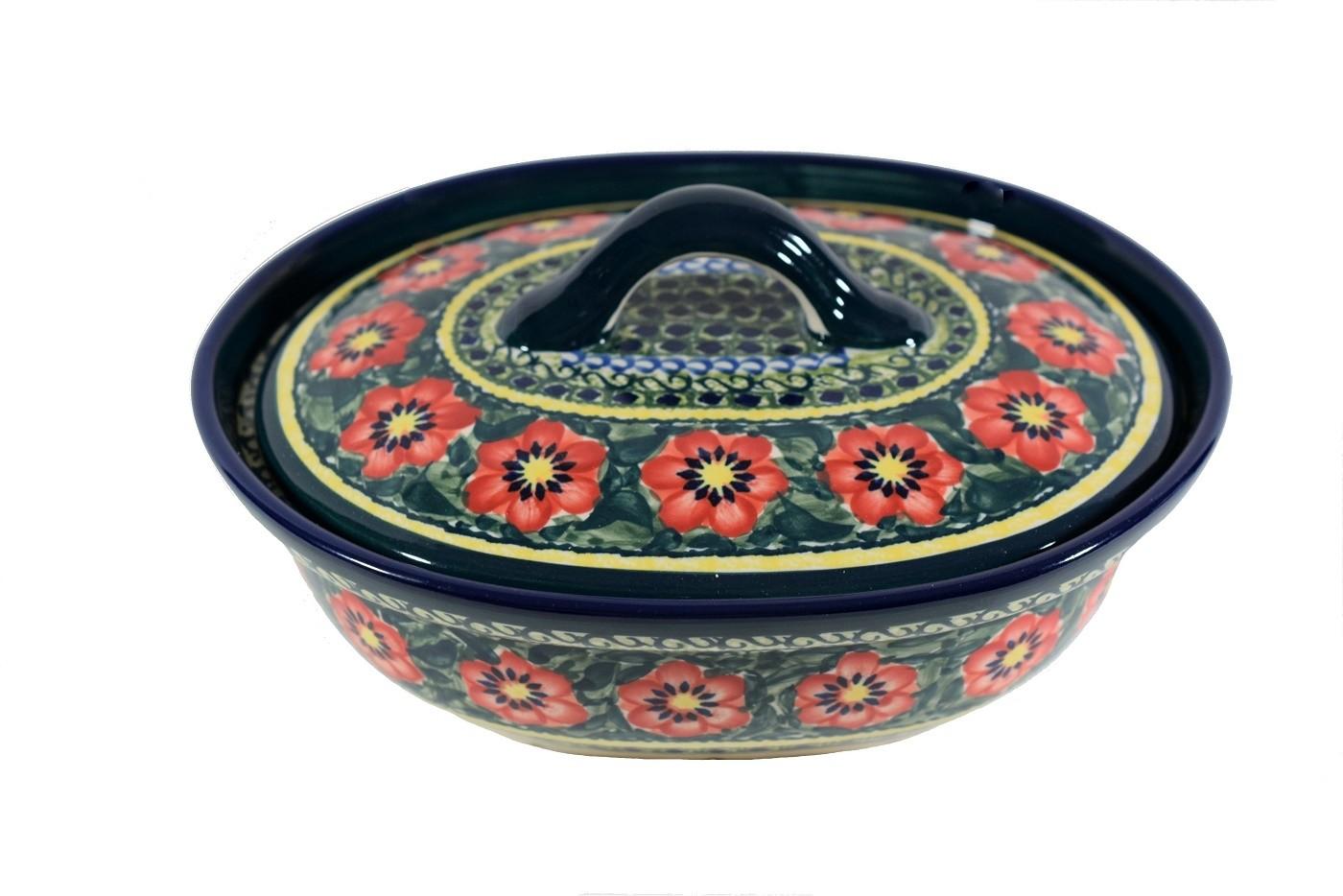 Polish Pottery PASSION 1.5-Liter Covered Stoneware Casserole