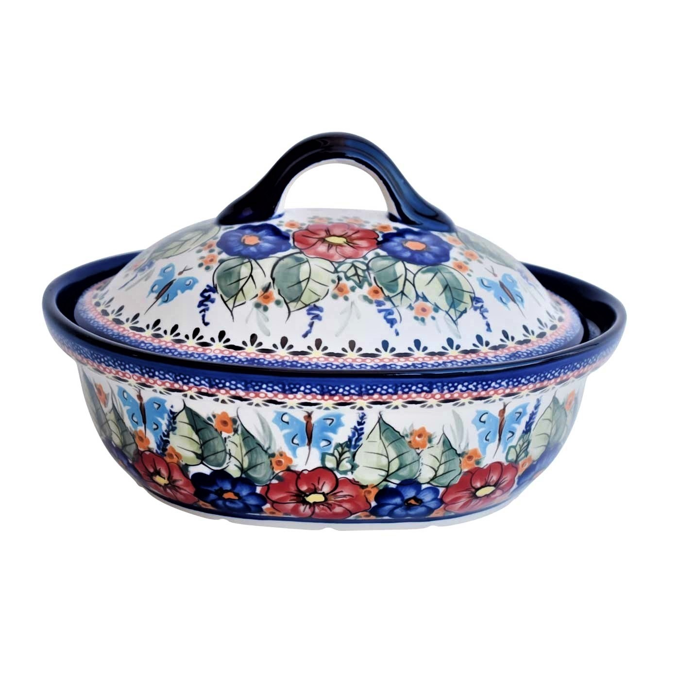 Pottery Avenue Stoneware Covered Casserole, 1.5 Liter - 1793-149AR Butterfly Merry Making