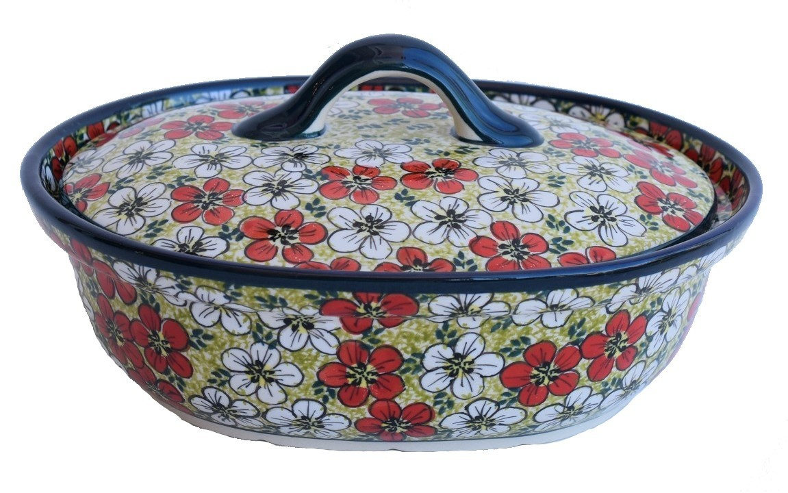 Pottery Avenue Red Bacopa 1.5L Covered Casserole