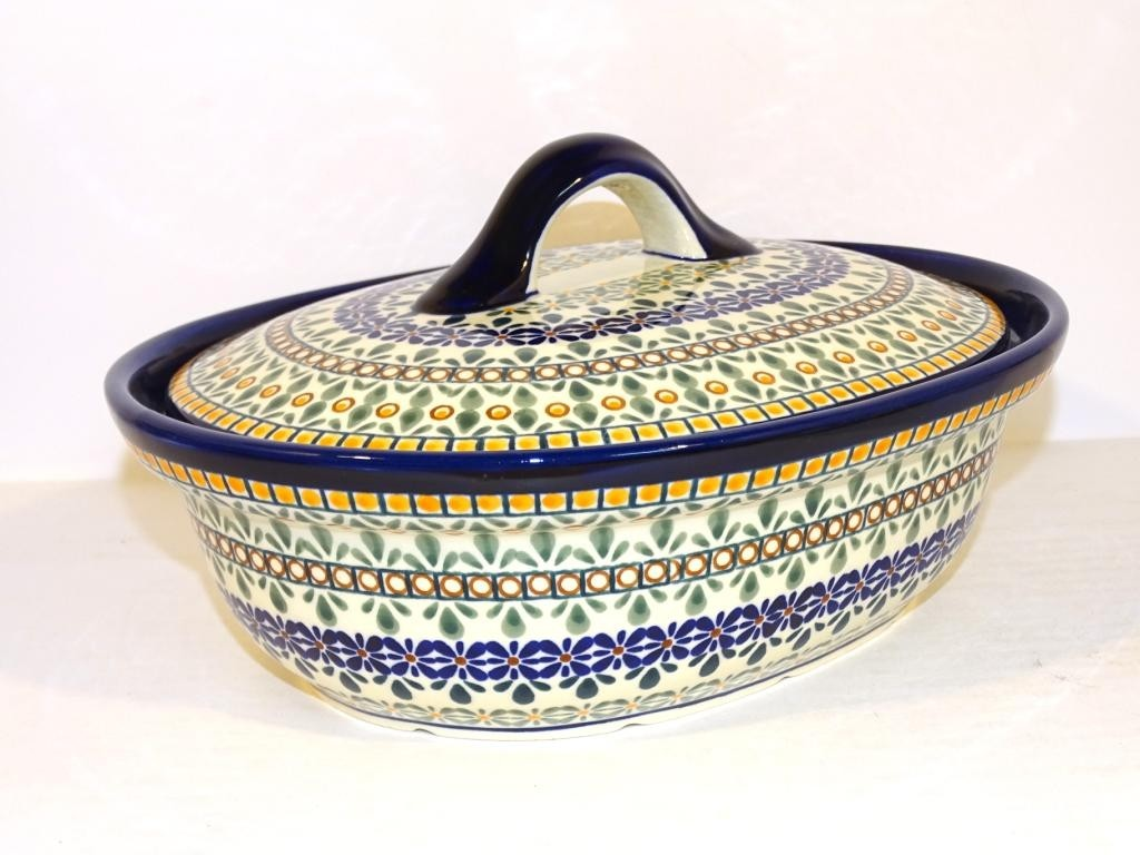 Polish Pottery ENCHANTING 1.5L Covered Stoneware Casserole | ARTISAN
