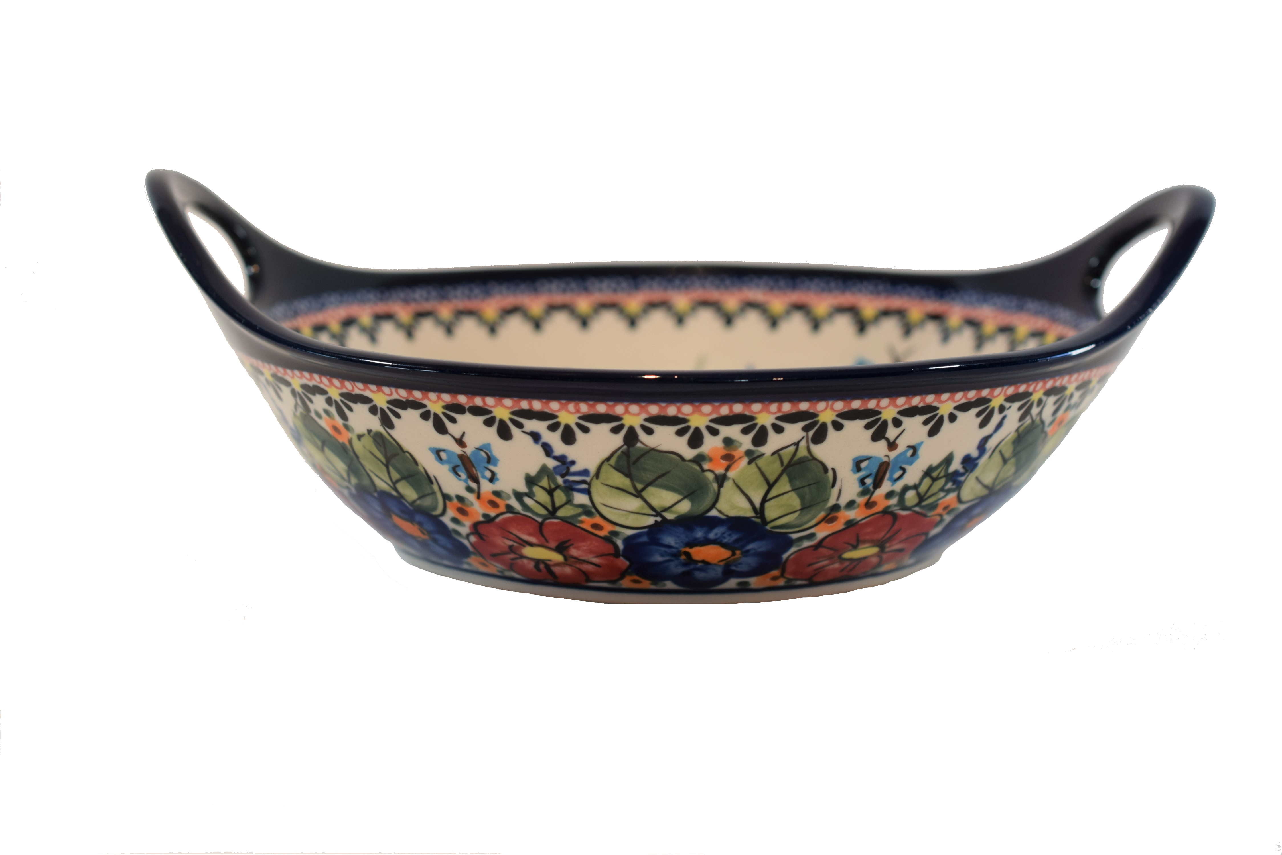 """Potter Avenue Butterfly Merry Making 11.5"""" Handled Stoneware Bowl-Baker (MD) - 1814-149AR BUTTERFLY MERRY MAKING"""