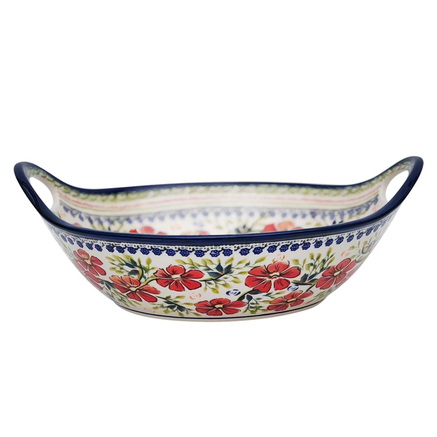 """Pottery Avenue Love Blossoms 11.5"""" Handled Stoneware Bowl-Baker (MD)"""