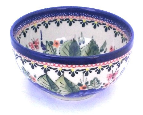 "Polish Pottery STRAWBERRY BUTTERFLY 4.5"" Rice Stoneware Bowl | UNIKAT"