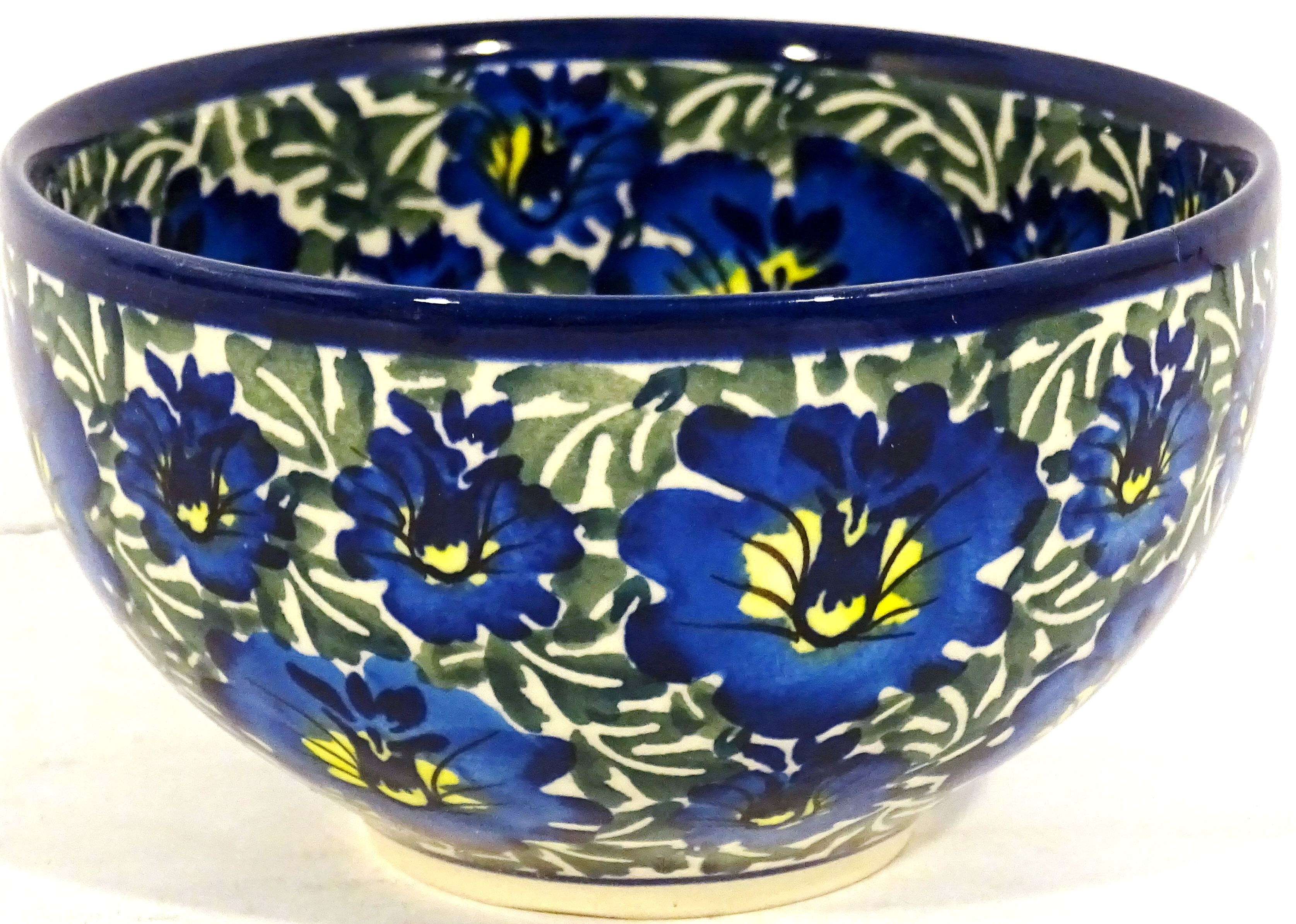 "Polish Pottery BLUE LAGOON 4.5"" Rice Stoneware Bowl 