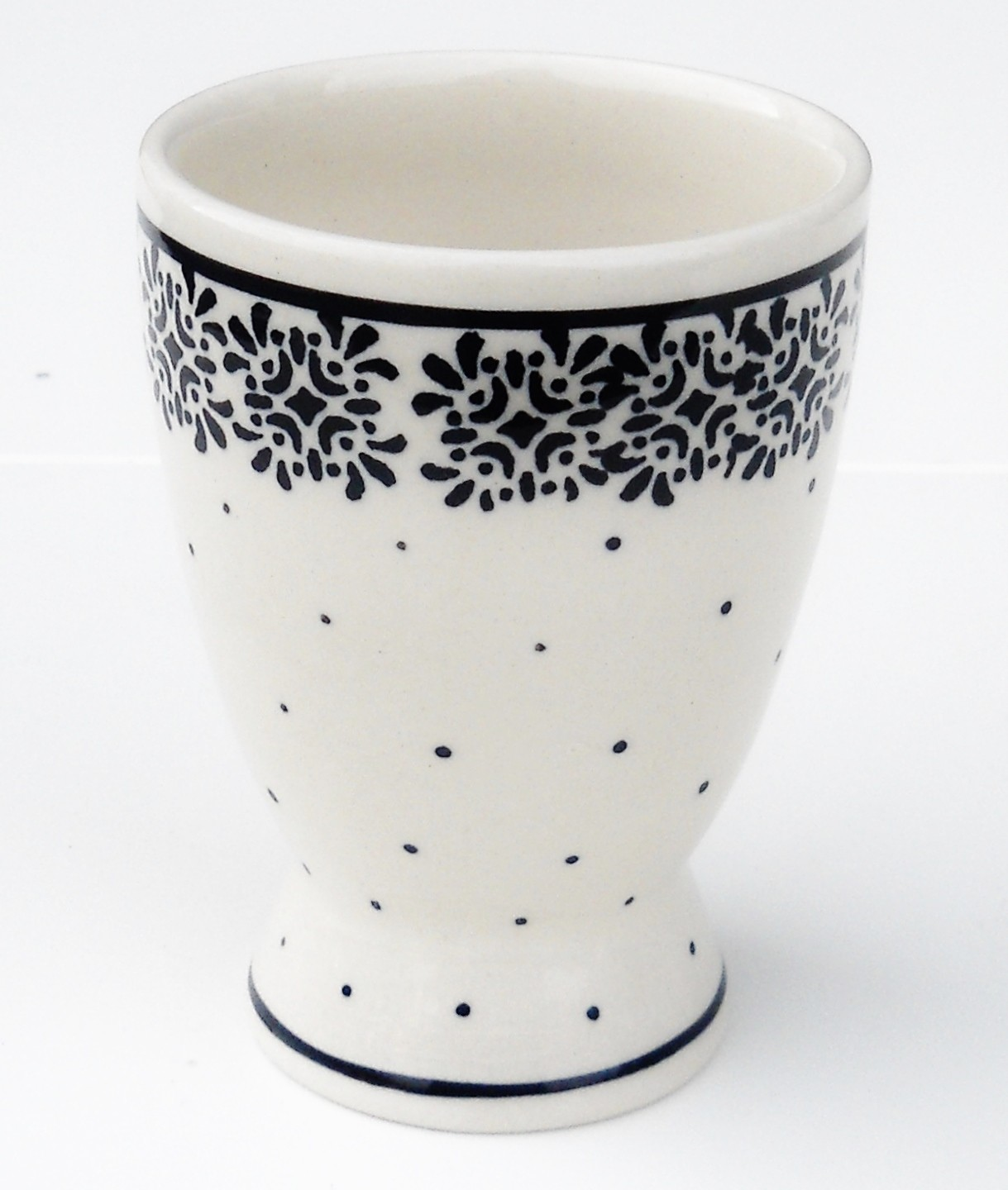 Polish Pottery TRENDY TIMES 8-oz Pedestal Stoneware Cup | CLASSIC