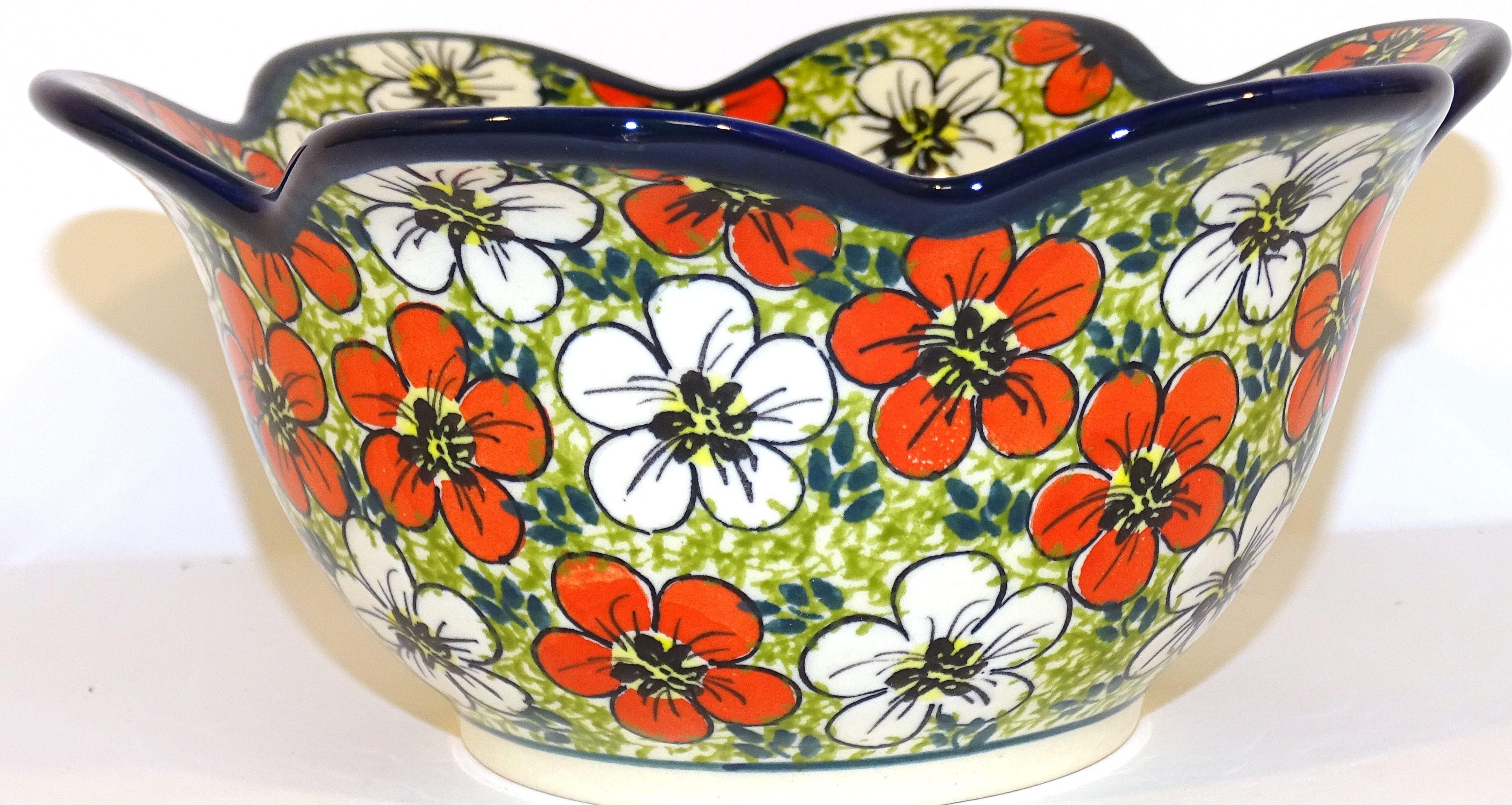 Polish Pottery RED BACOPA 6.5 Tulip Petal Stoneware Bowl | UNIKAT