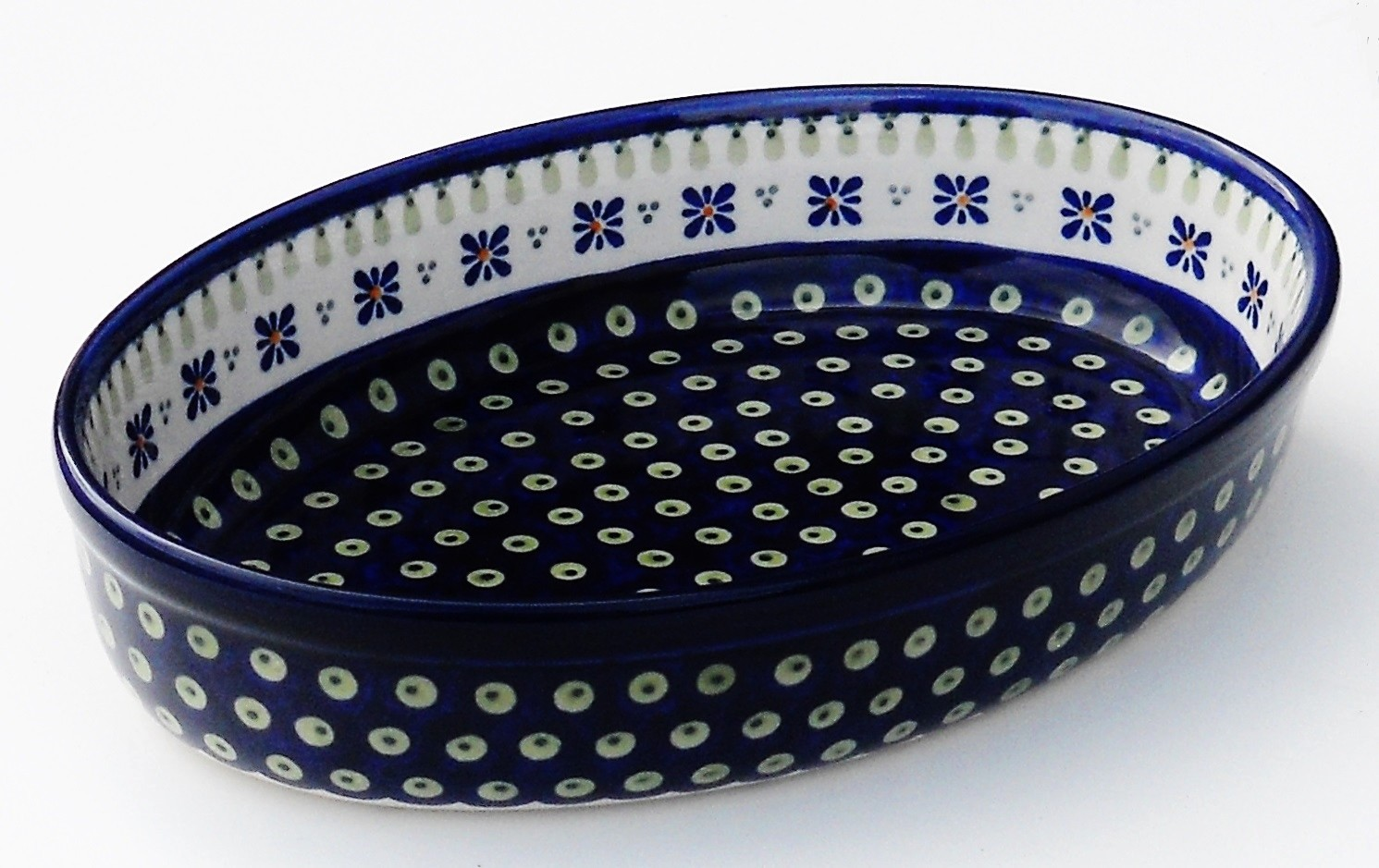 "Polish Pottery DROPS OF JOY 11"" Stoneware Oval Baker 
