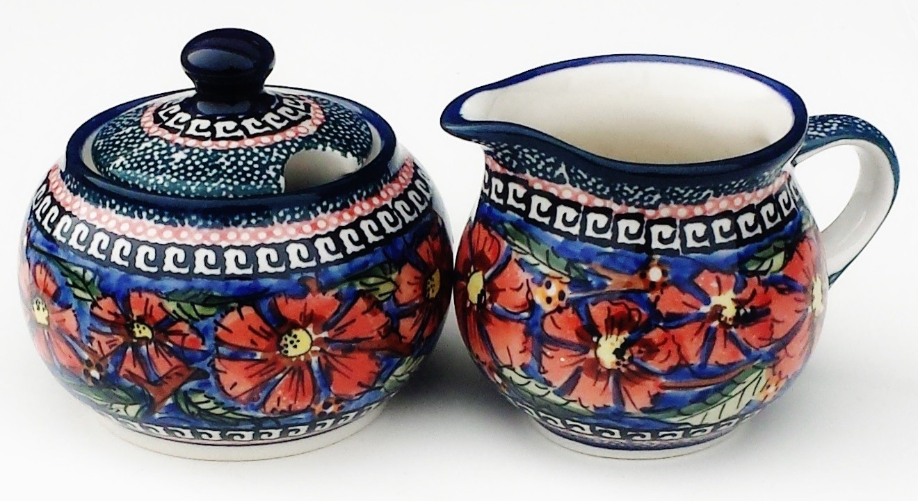 Pottery Avenue Cherished Friends Creamer and Sugar Bowl - Stoneware