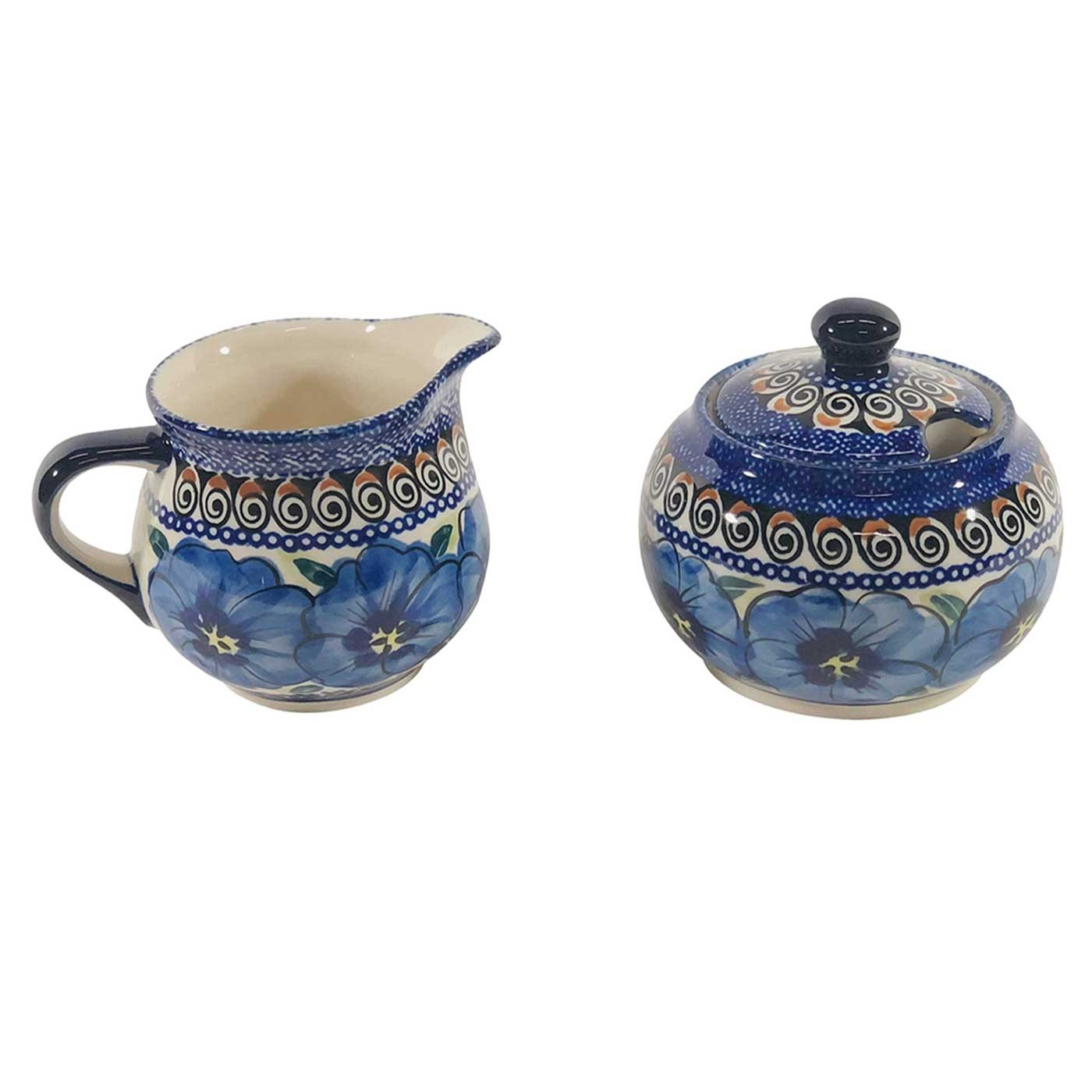 Pottery Avenue Blue Pansy Cream & Sugar Set