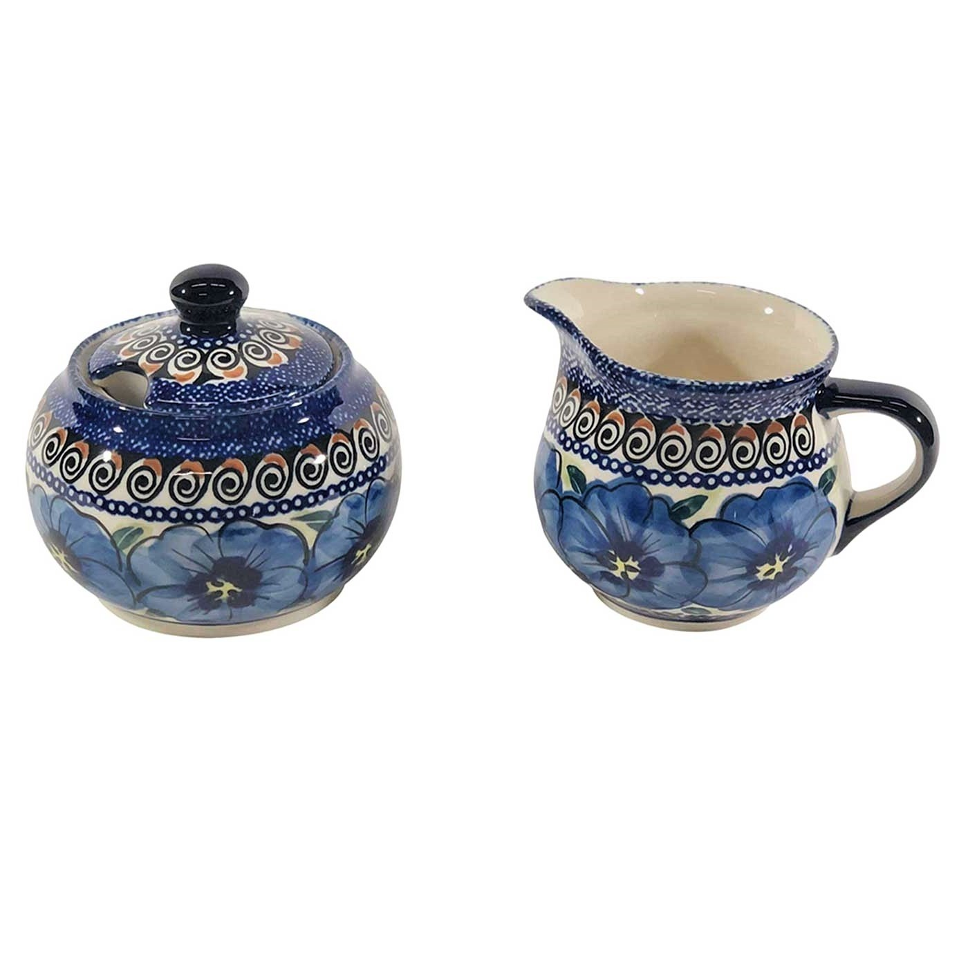 Pottery Avenue Stoneware Stackable Cream & Sugar Set - 694-945 148AR Blue Pansy