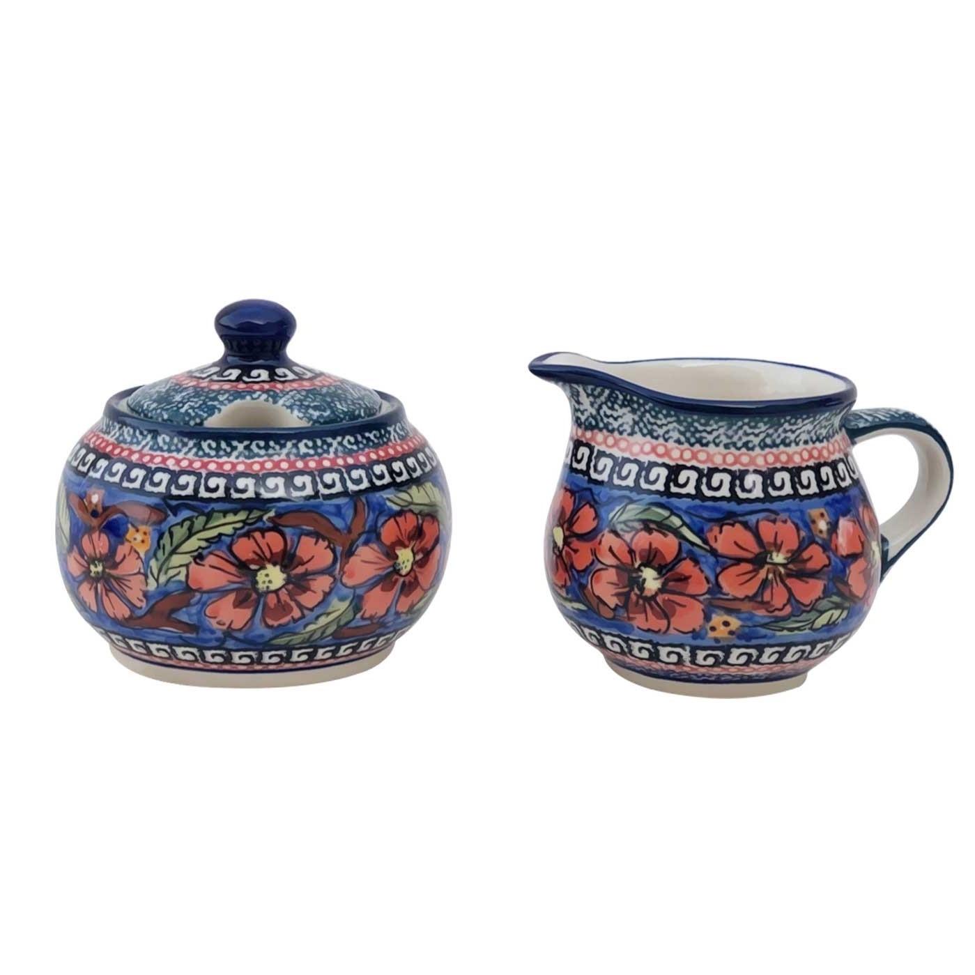 Pottery Avenue Cherished Friends Creamer and Sugar Bowl - Stoneware