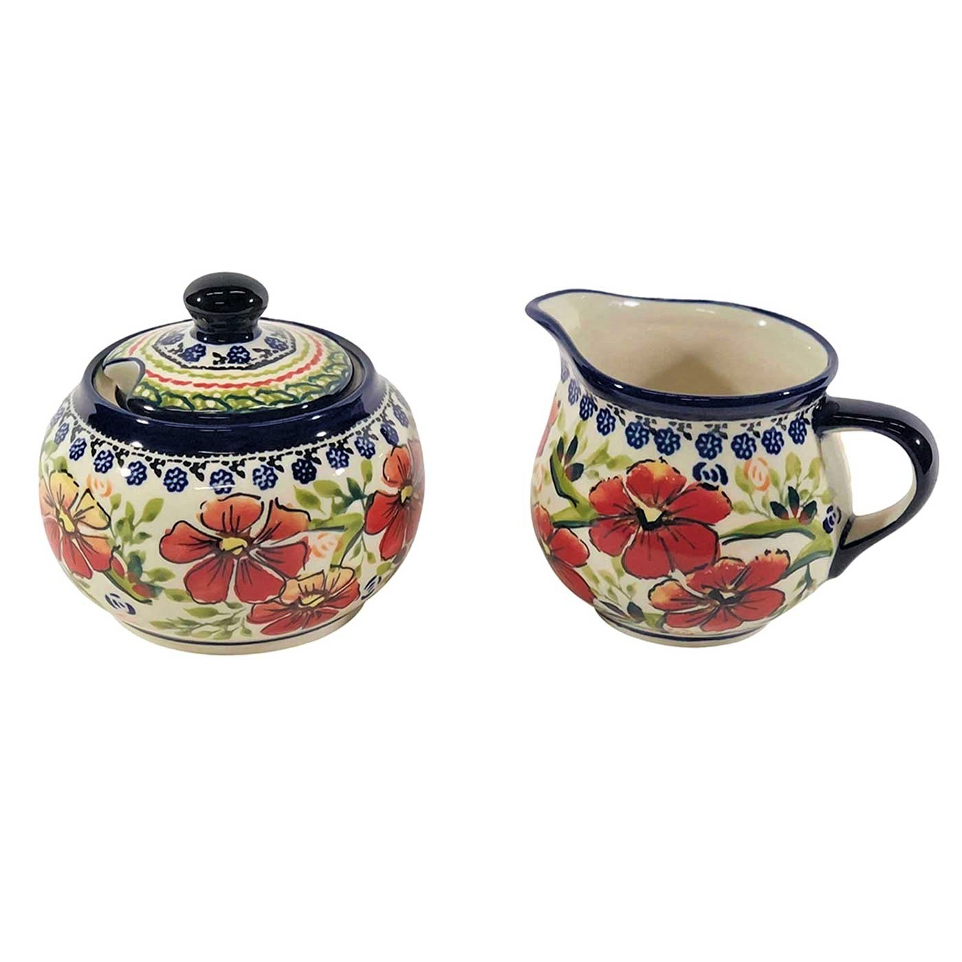 Pottery Avenue Stackable Cream and Sugar Set - 694-945-252EX Love Blossoms