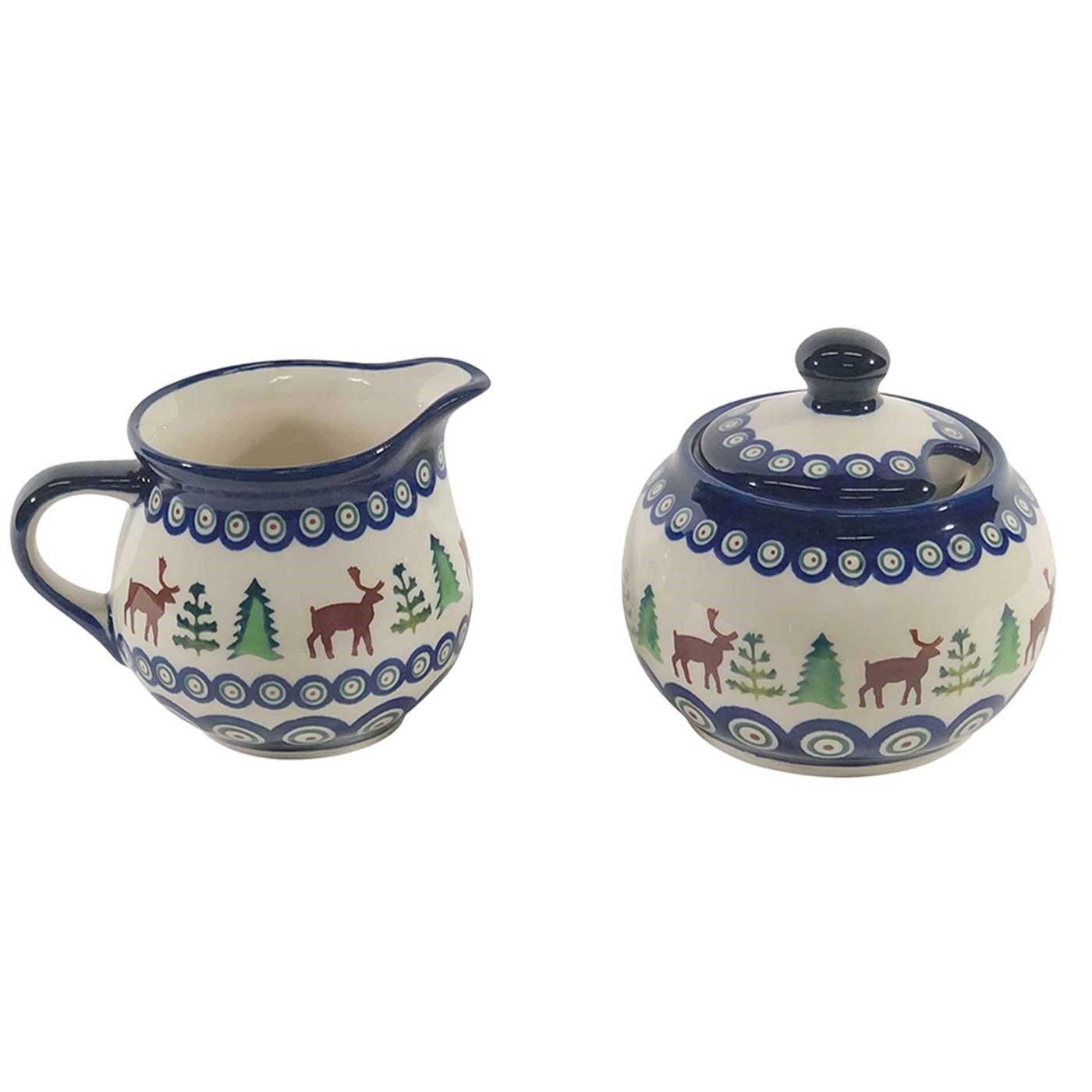 Pottery Avenue Caribou Lodge Stoneware Cream and Sugar Bowl