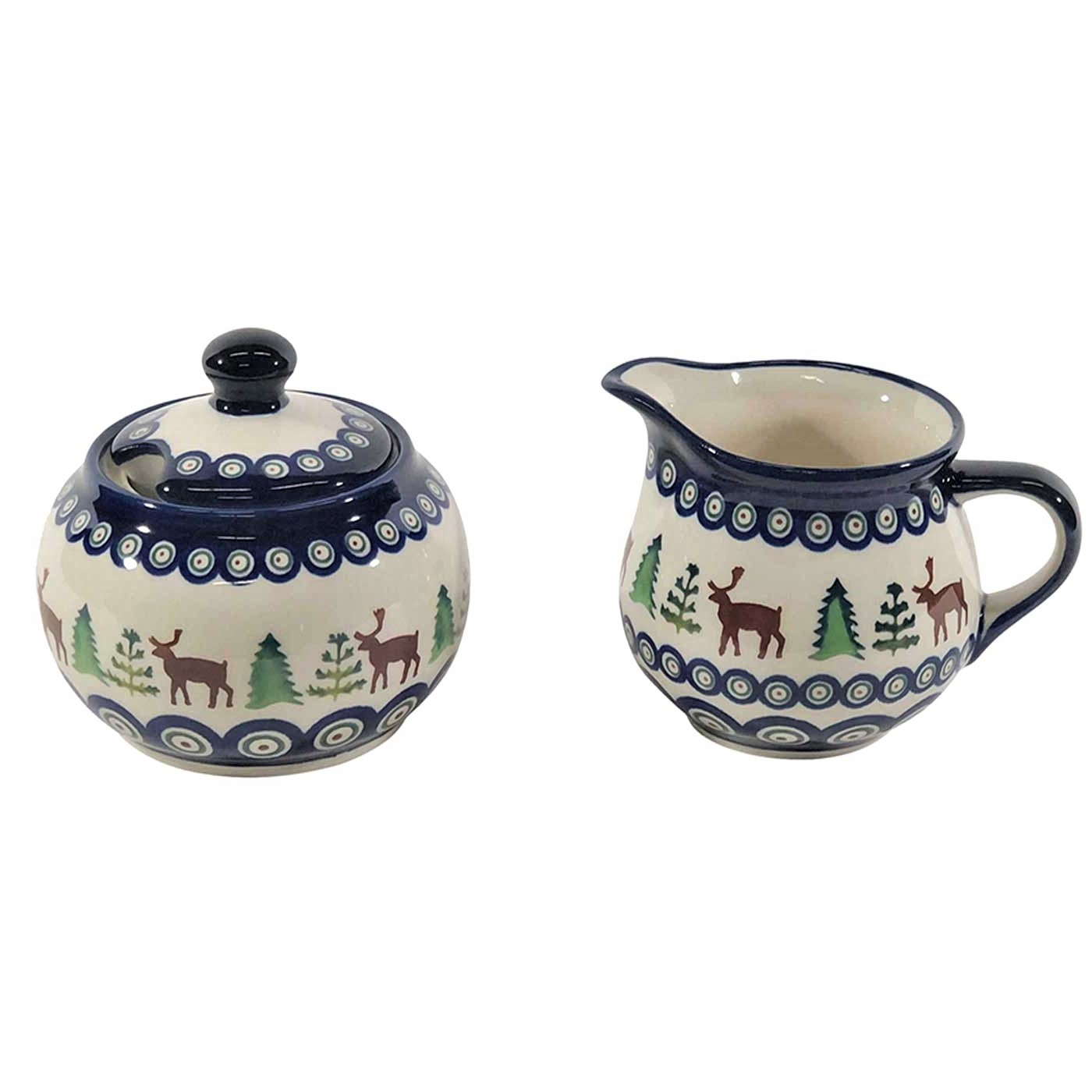 Pottery Avenue Caribou Lodge Stoneware Creamer and Sugar, Great For Stacking 694-945-992A Caribou Lodge