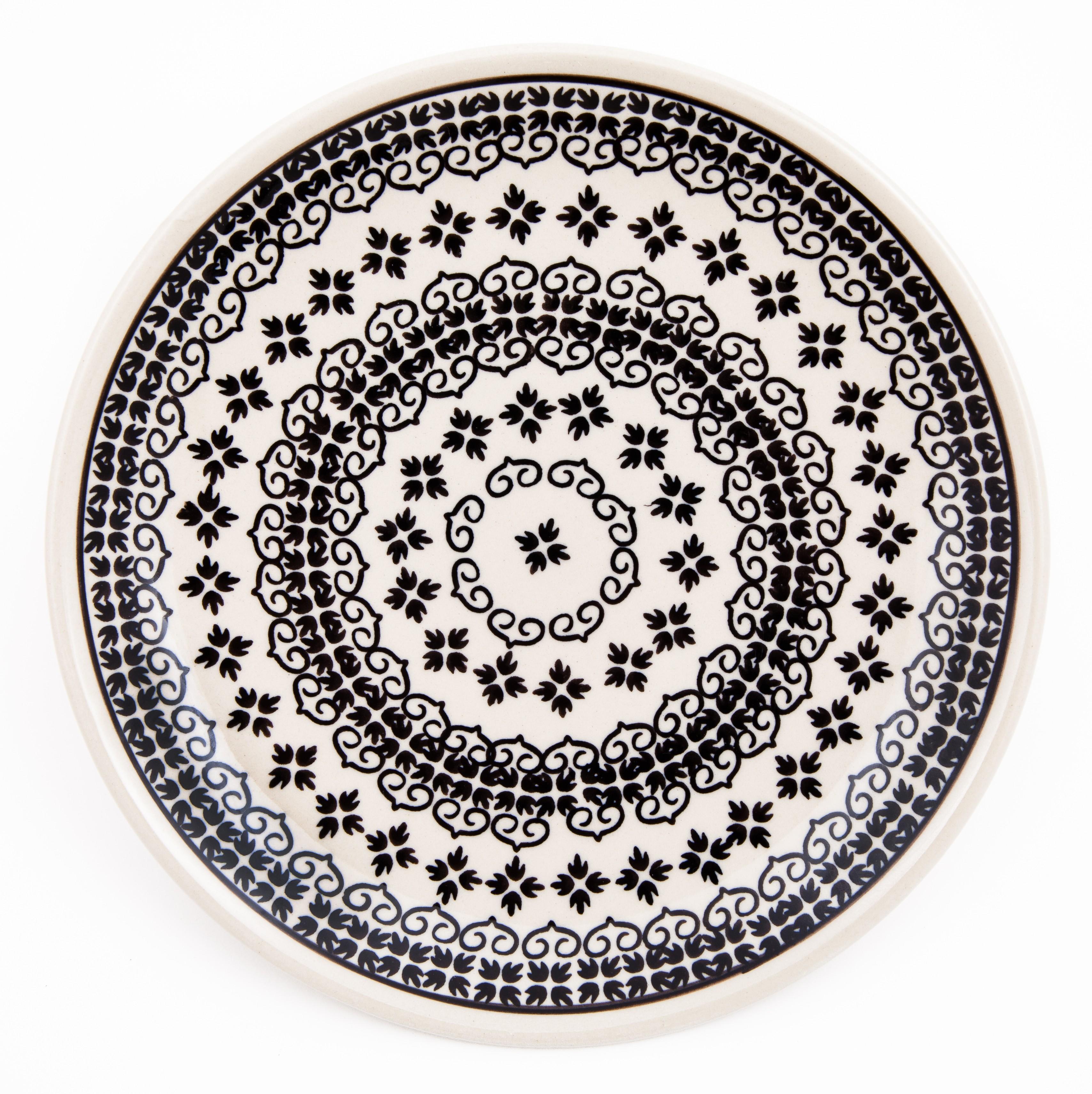 "Polish Pottery 7.75"" BLACK DIAMOND Stoneware Salad Plate | CLASSIC"