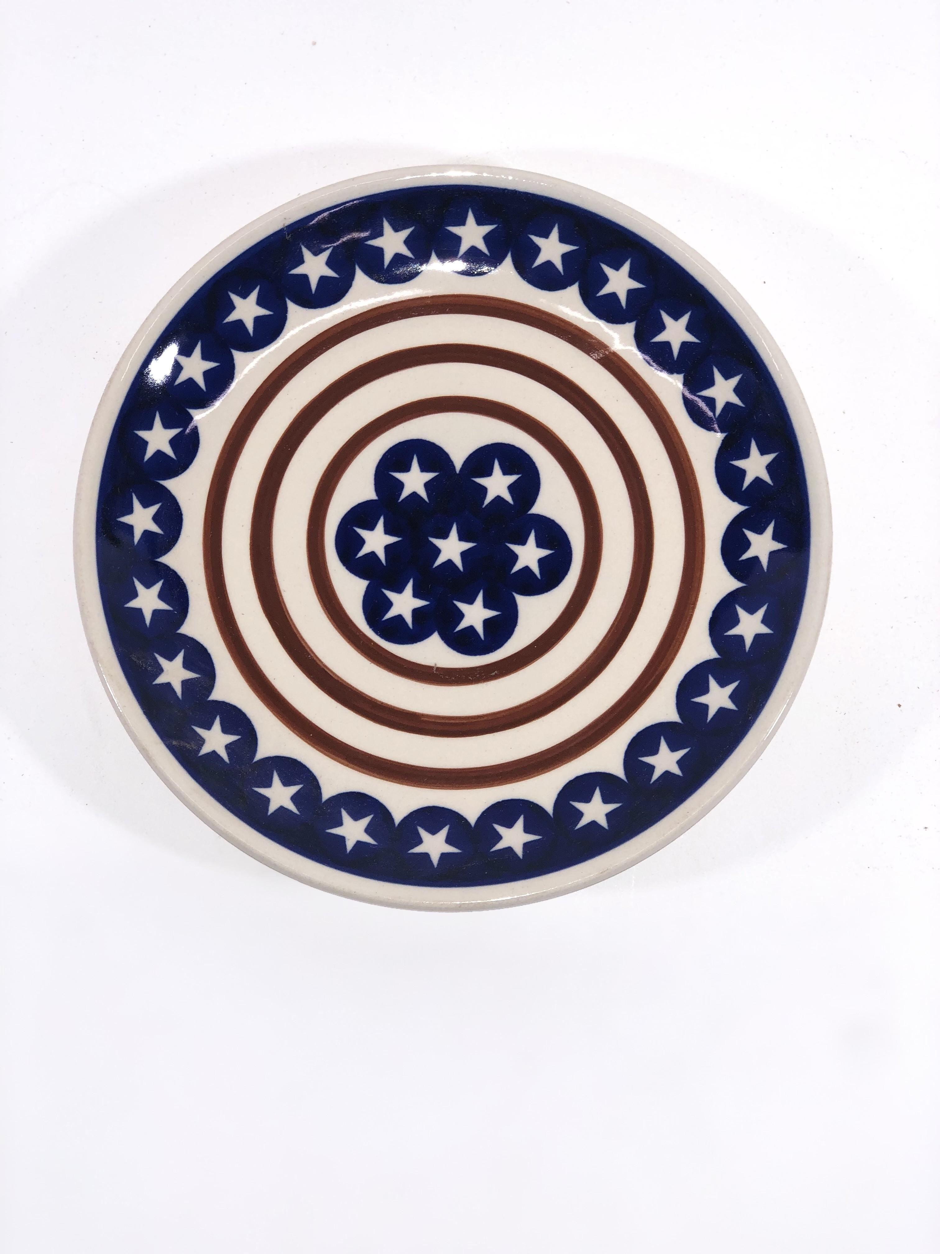 "Polish Pottery STARS N STRIPES 7.75"" Stoneware Salad Plate | CLASSIC"