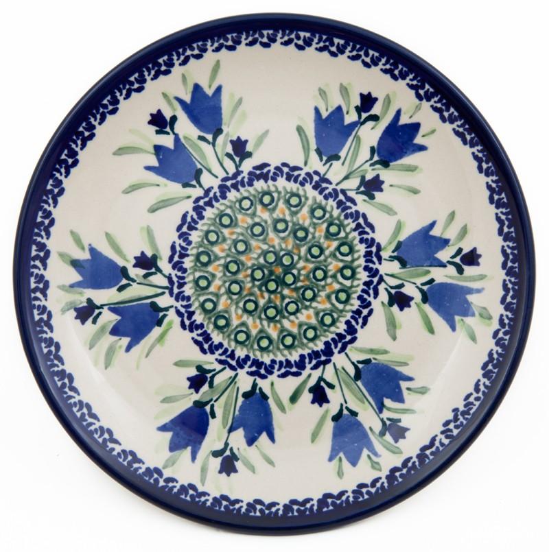 "Polish Pottery BLUE TULIP 7.75"" Stoneware Salad Plate | UNIKAT"