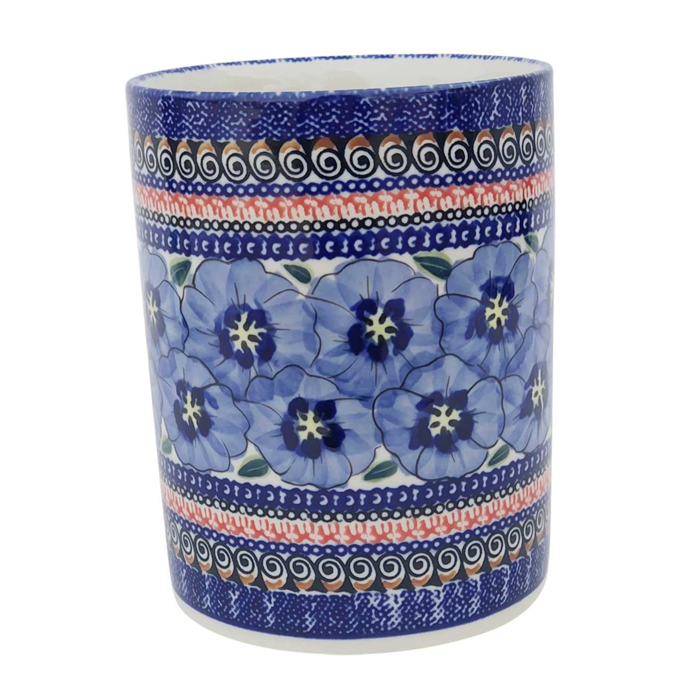 "Pottery Avenue 7"" Stoneware Untensil Jar - 932-148AR Blue Pansy"