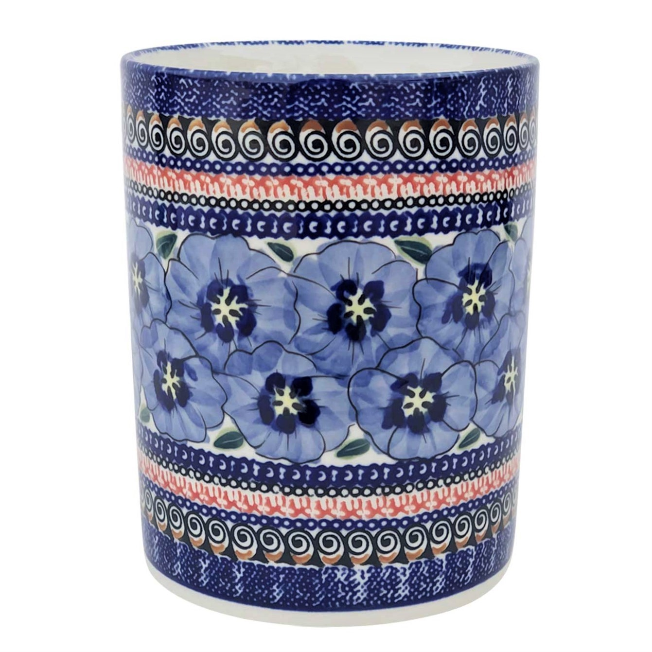 "Pottery Avenue 7"" Stoneware Untensil Jar - 932-148AR Blue Pansy"