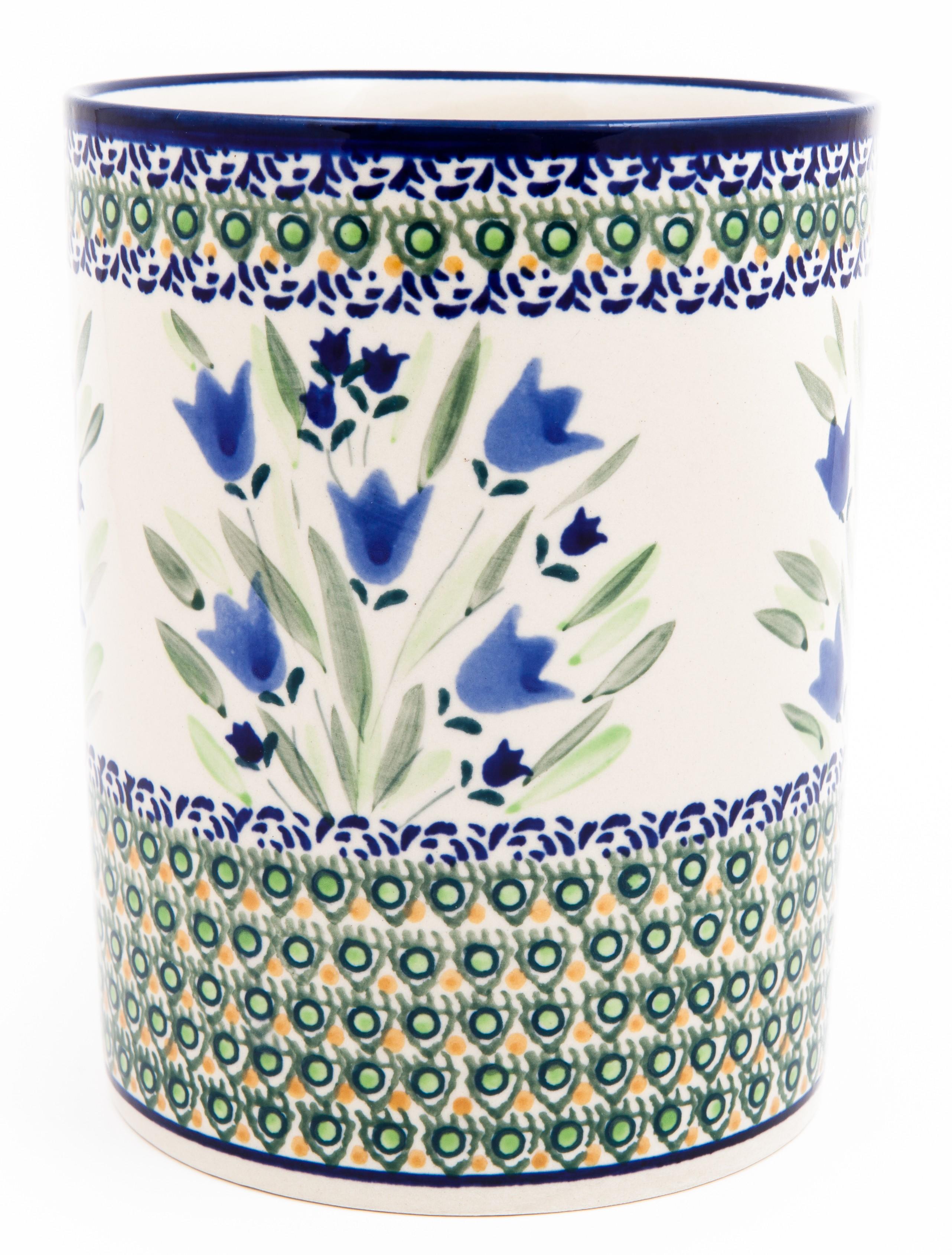 """Pottery Avenue 7"""" Stoneware Utensil-Jar-Crock - 832-160AR Blue Tulip"""