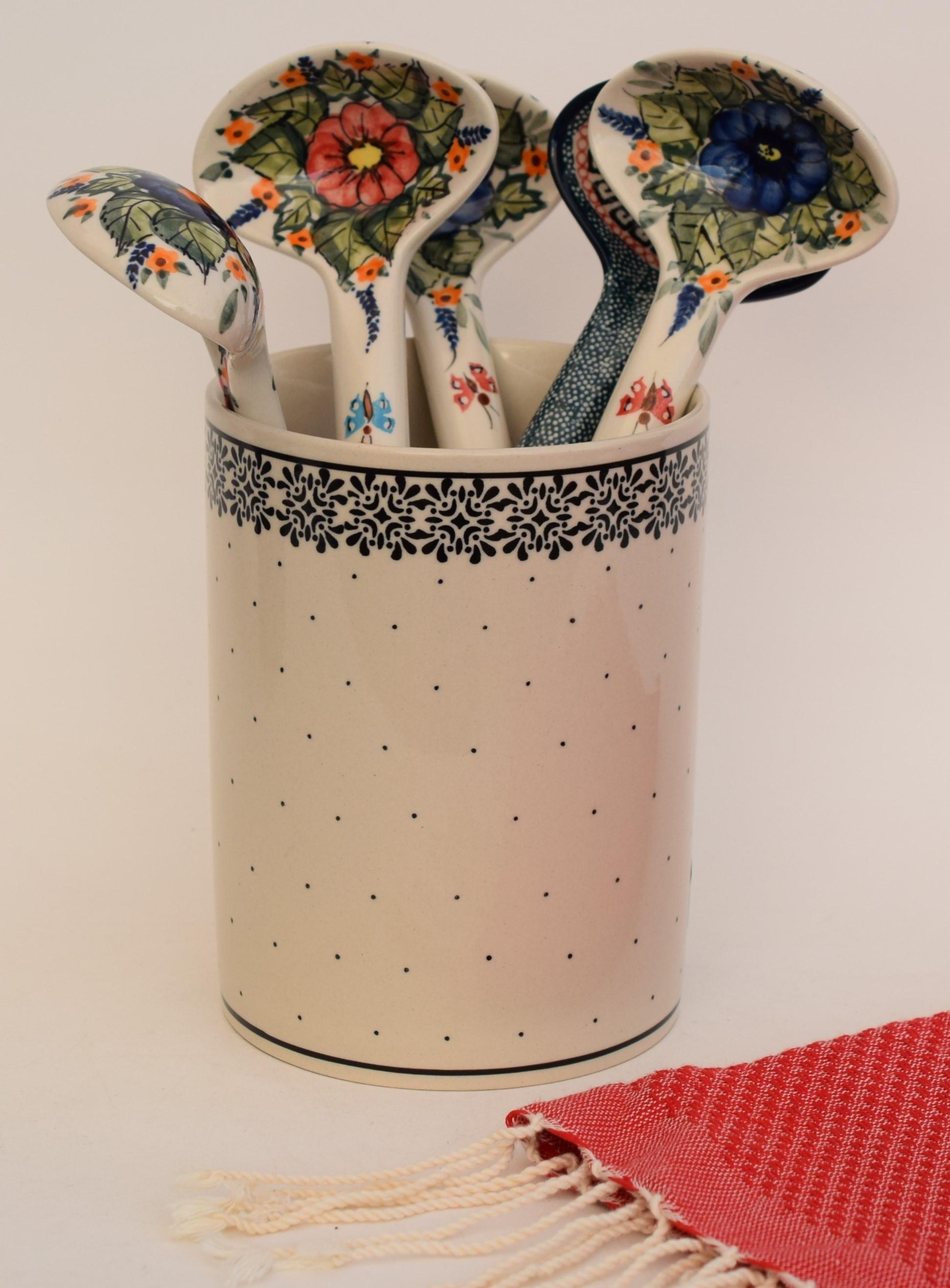 "Polish Pottery TRENDY TIMES 7"" Stoneware Utensil Jar | CLASSIC"