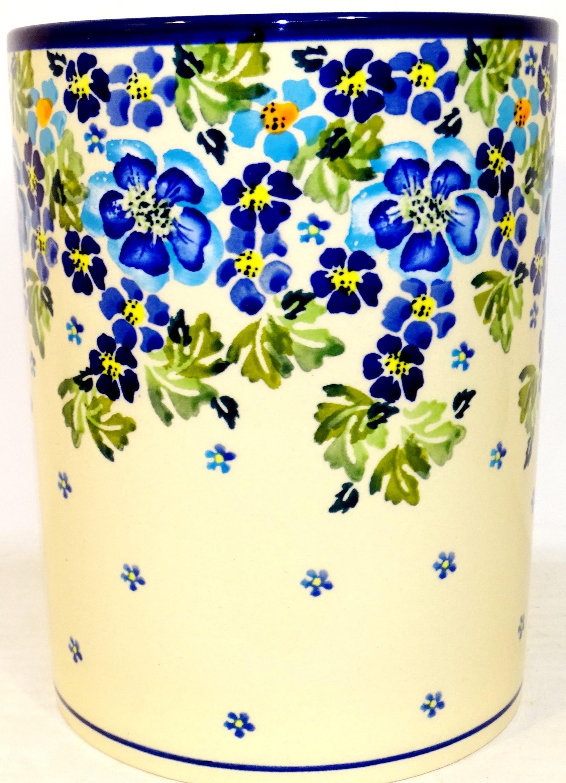 "Polish Pottery TRUE BLUES 7"" Stoneware Utensil Jar | ARTISAN"