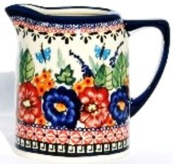 Polish Pottery BUTTERFLY MERRYMAKING .7L Stoneware Cylinder Pitcher | UNIKAT