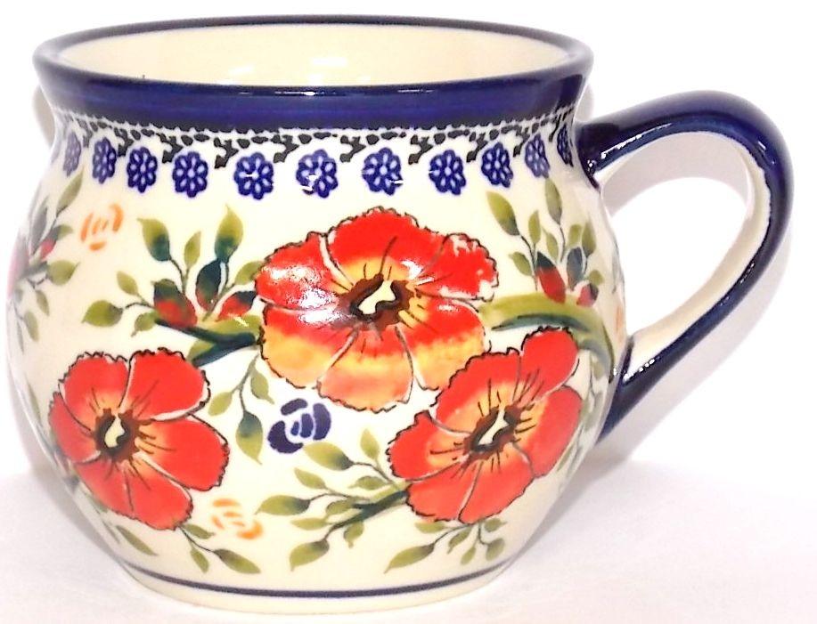 Polish Pottery LOVE BLOSSOMS 10-oz Stoneware Bubble Mug | EX-UNIKAT
