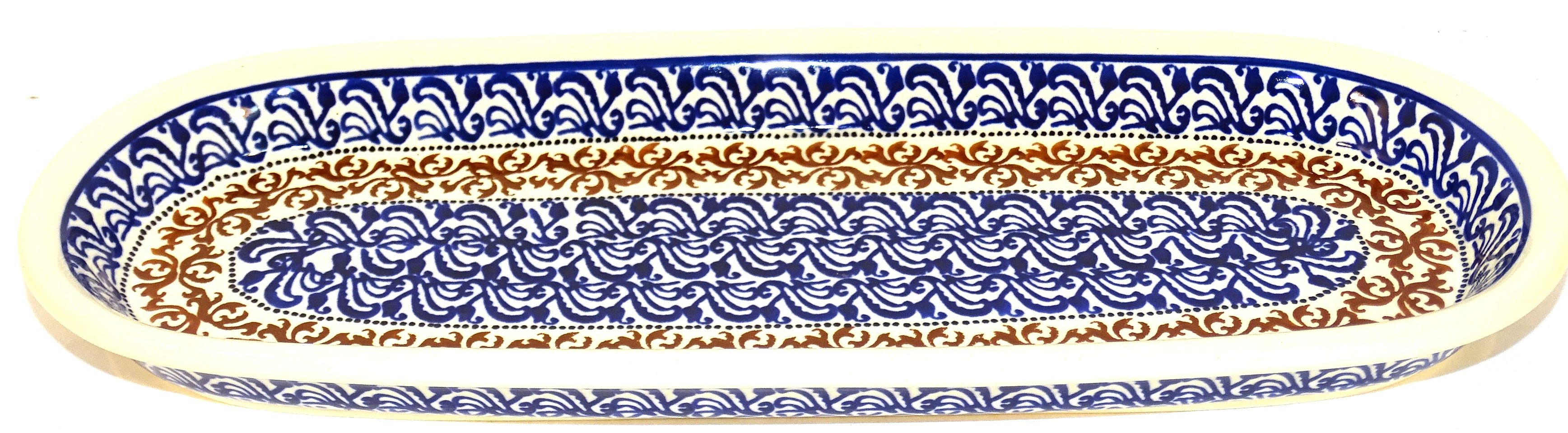 """Pottery Avenue Cuba 11"""" Cracker-Olive Stoneware Tray"""