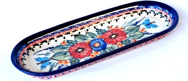 """Pottery Avenue Butterfly Merry Making 11"""" x 4.25"""" Stoneware Cracker-Olive Tray"""