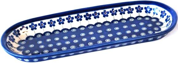 "Pottery Avenue Flowering Peacock 11"" x 4.25"" Stoneware Cracker-Olive Tray"