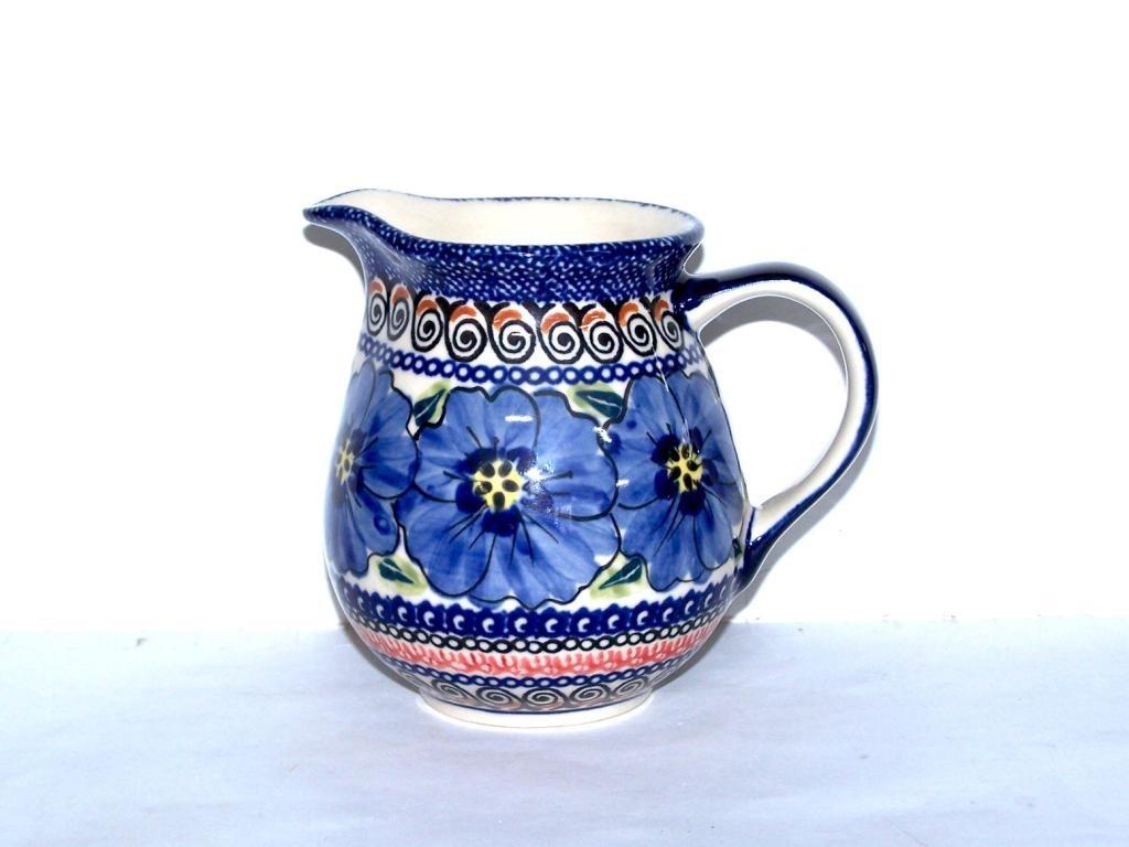 Polish Pottery BLUE PANSY 1.7 Cup Pitcher | UNIKAT