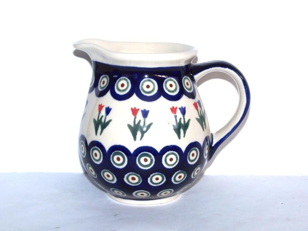 Polish Pottery PEACOCK TULIP 1.7 Cup Pitcher | CLASSIC
