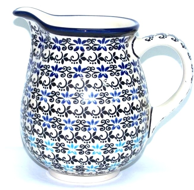 Polish Pottery 3.6 Cup ELEGANT BLUE Pitcher | CLASSIC