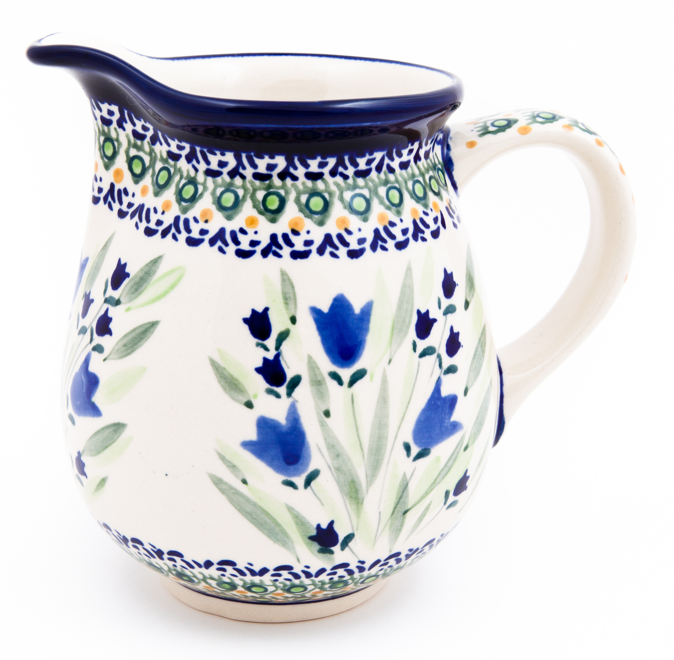 "Pottery Avenue Blue Tulip 3.6 Cp Stoneware Pitcher - 5.66"" Tall"