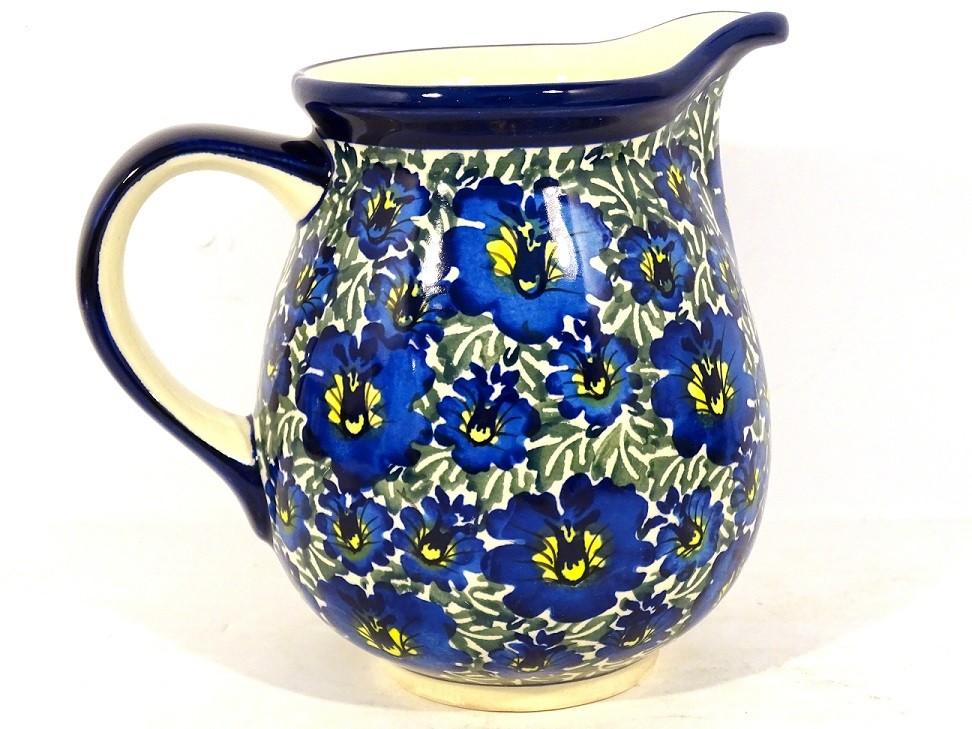 Polish Pottery 3.6 Cup BLUE LAGOON Pitcher | UNIKAT