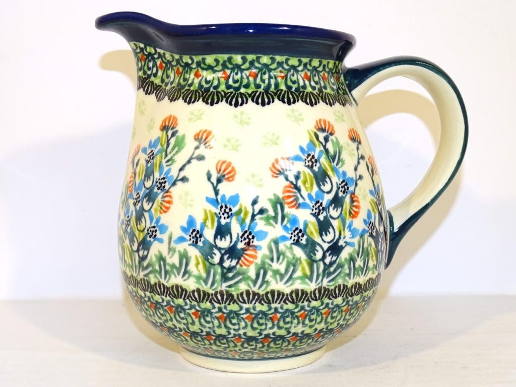 Polish Pottery 3.6 Cup SEA GARDEN Pitcher | ARTISAN