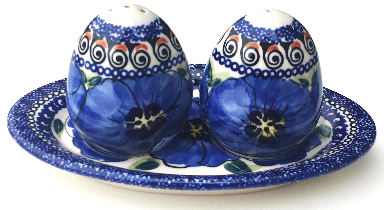 Pottery Avenue BLUE PANSY Salt And Pepper Set | UNIKAT