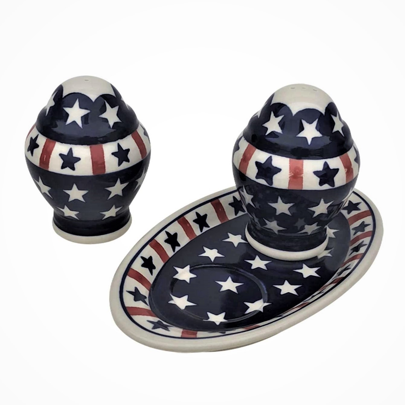 Pottery Avenue Americana 3pc Stoneware Salt and Pepper with Tray - 1284-961-927