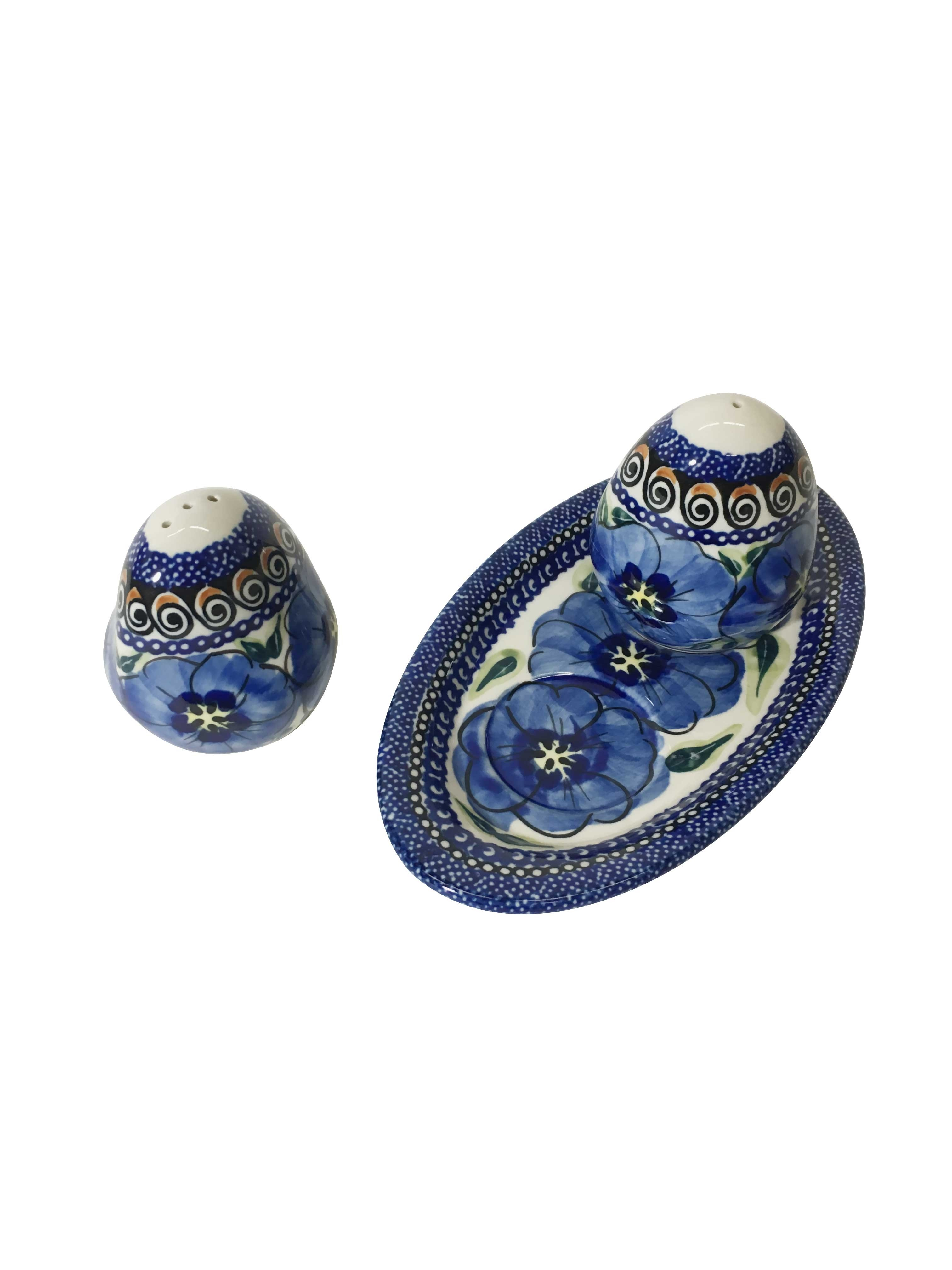 Pottery Avenue Blue Pansy 3pc Stoneware Salt and Pepper Trio Set - 962-961-148AR