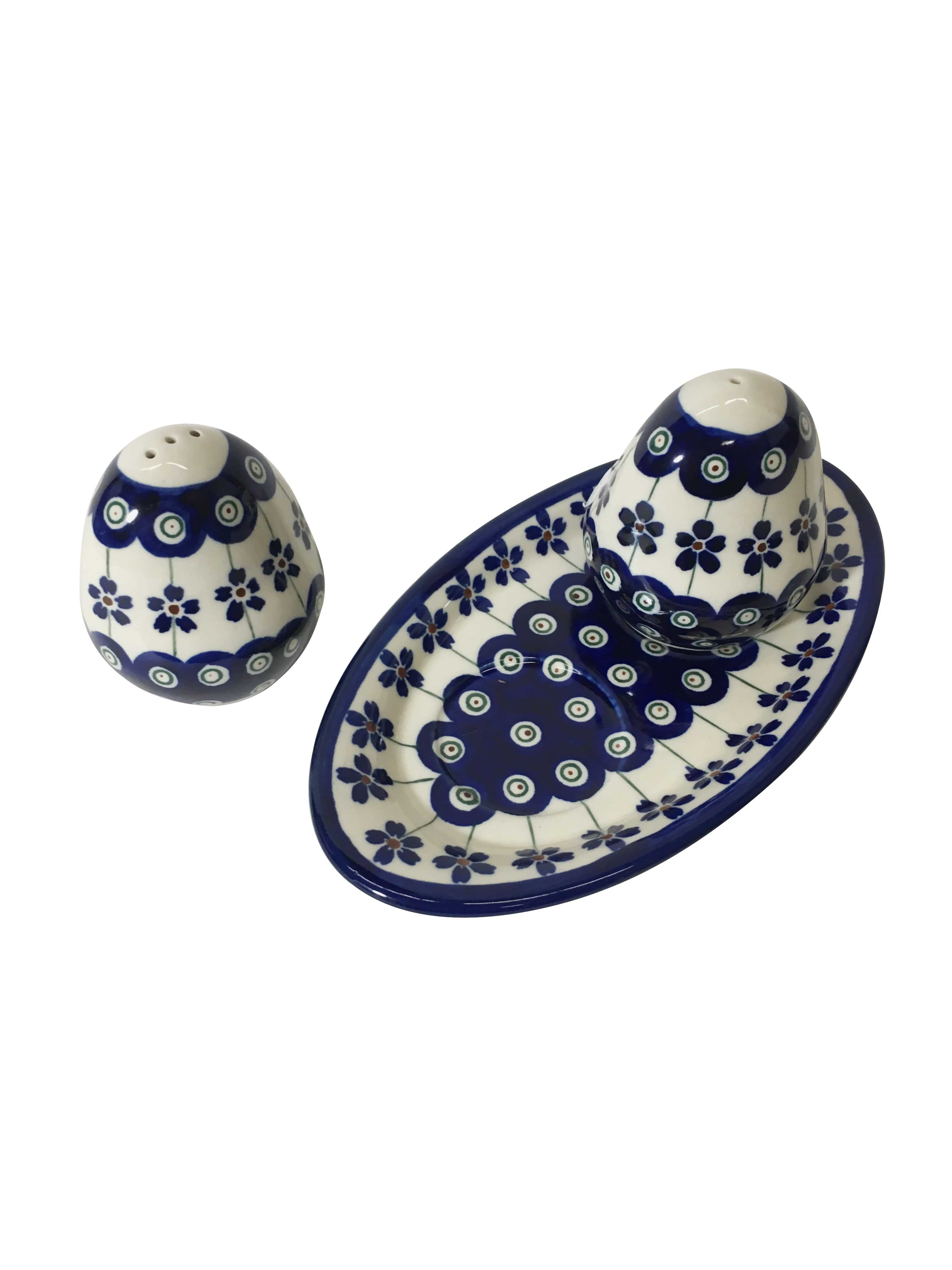 Pottery Avenue Flowering Peacock 3pc Stoneware Salt and Pepper Trio Set -962-961-166A