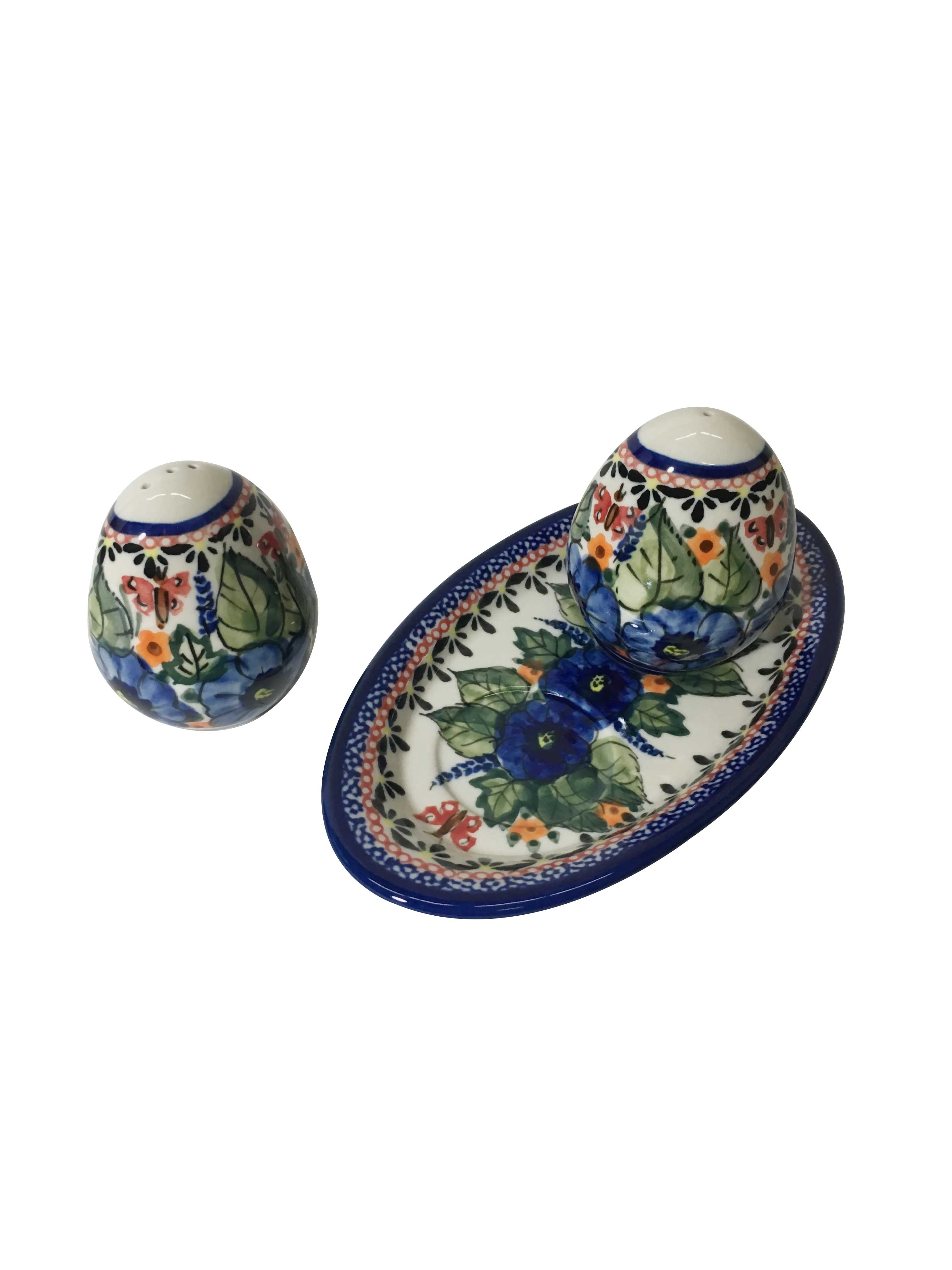 Pottery Avenue Strawberry Butterfly 3pc Stoneware Salt and Pepper Trio Set 962-961-208AR
