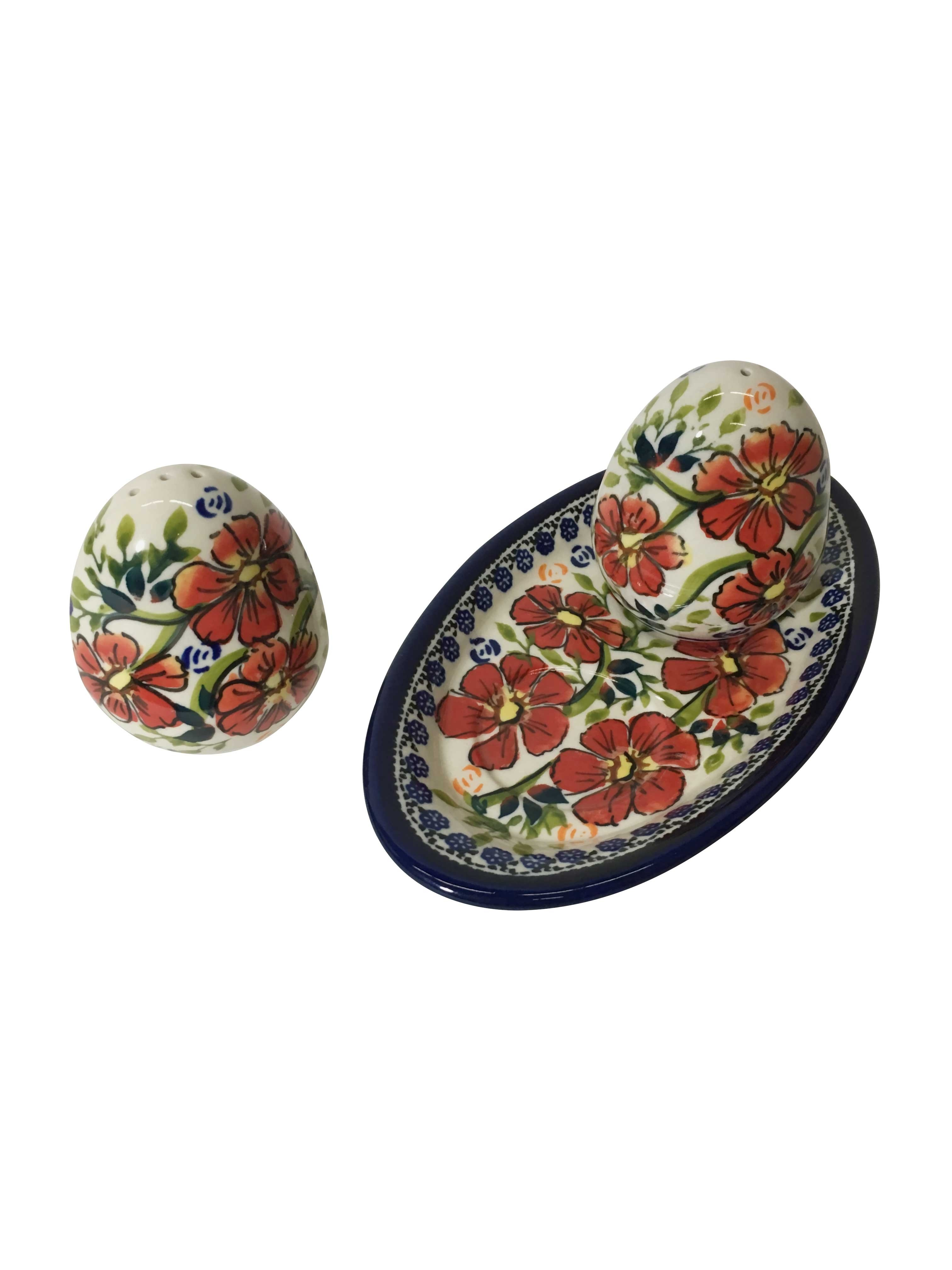 Pottery Avenue Love Blossoms 3pc Stoneware Salt and Pepper Trio Set - 962-961-252EX
