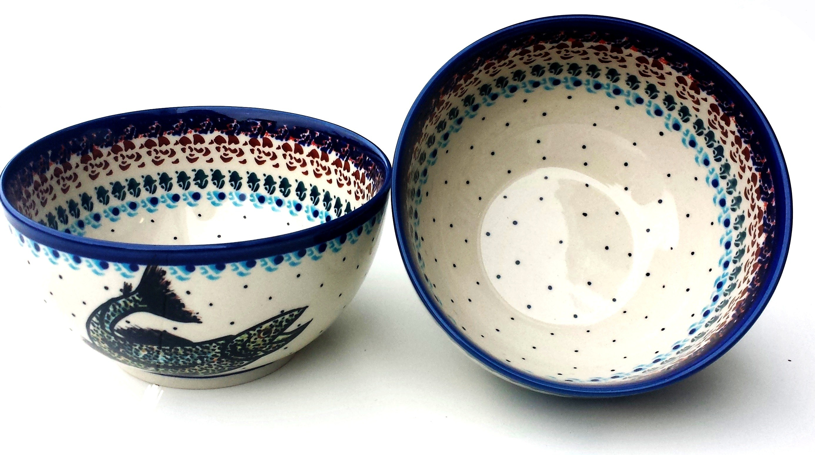 Polish Pottery 2 Cup HAPPY FISH Stoneware Cereal Bowl | ARTISAN